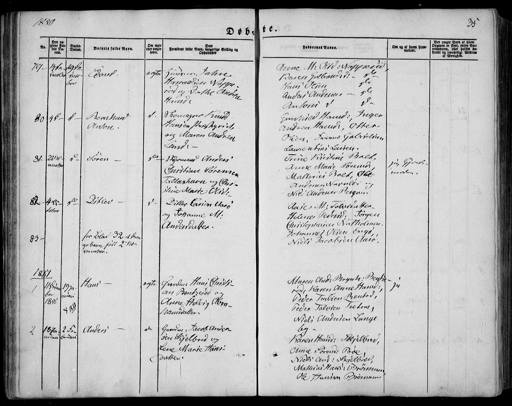 SAKO, Sandar kirkebøker, F/Fa/L0006: Parish register (official) no. 6, 1847-1860, p. 35