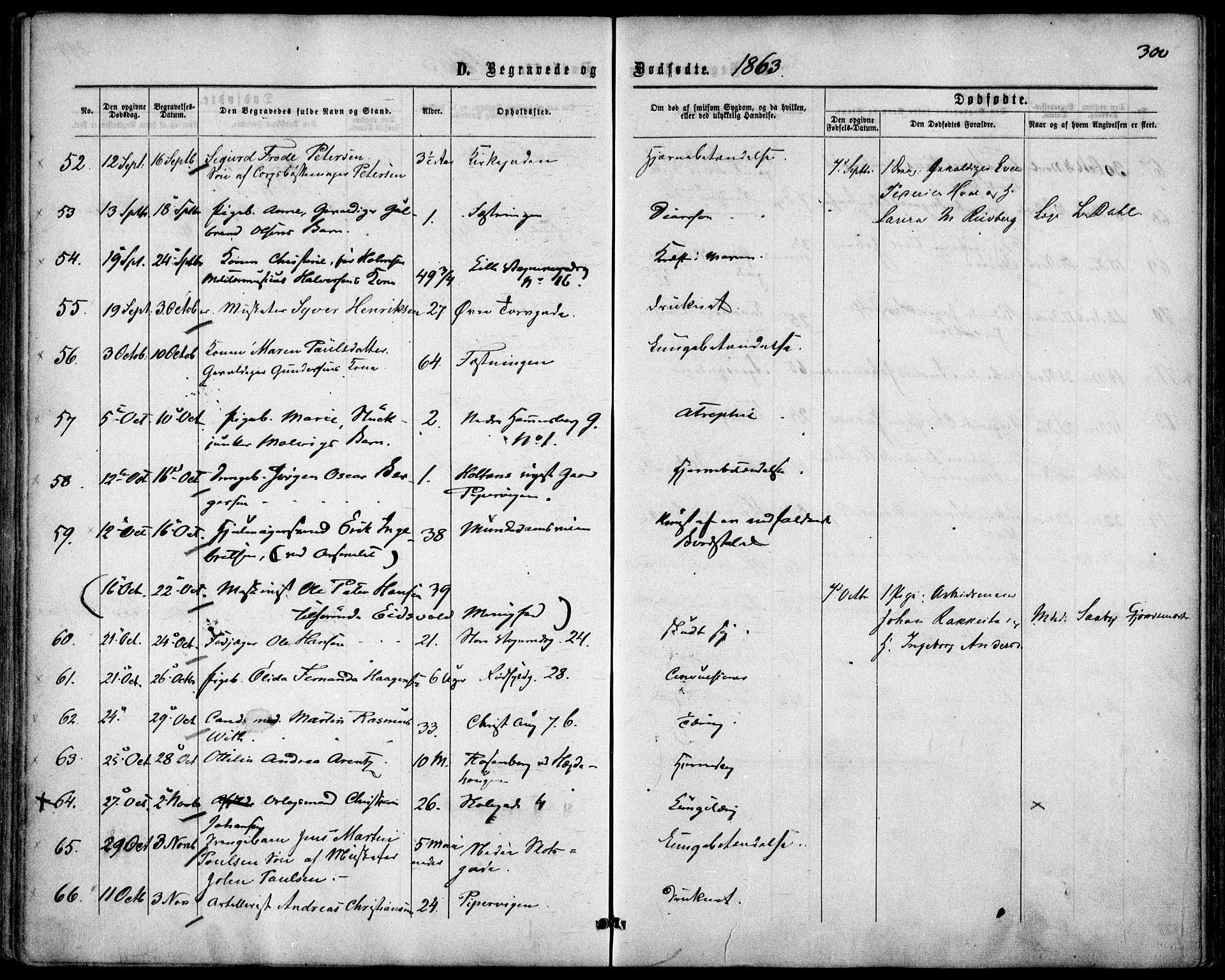 SAO, Garnisonsmenigheten Kirkebøker, F/Fa/L0010: Parish register (official) no. 10, 1859-1869, p. 300