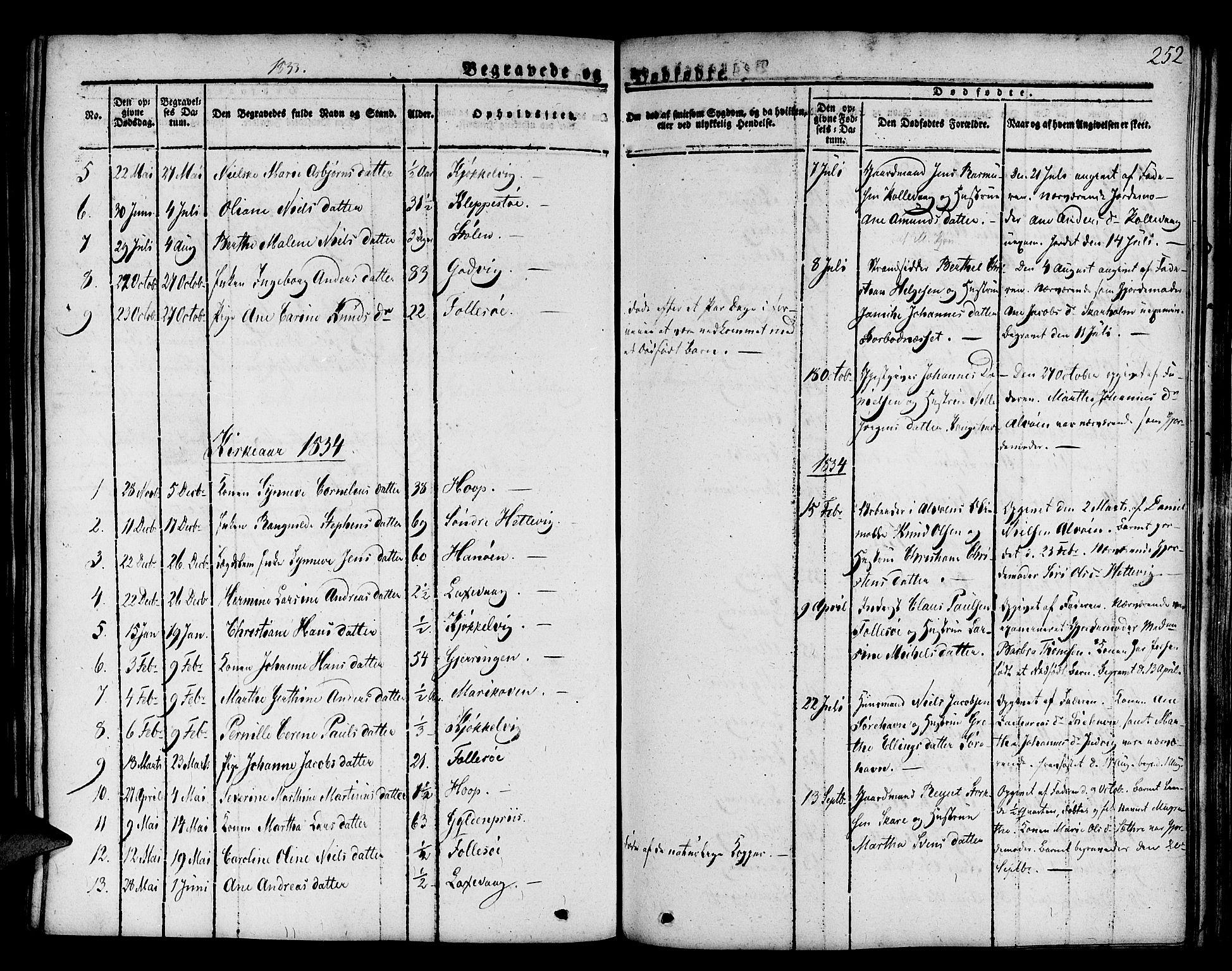 SAB, Askøy Sokneprestembete, H/Ha/Haa/Haaa/L0004: Parish register (official) no. A 4, 1825-1845, p. 252