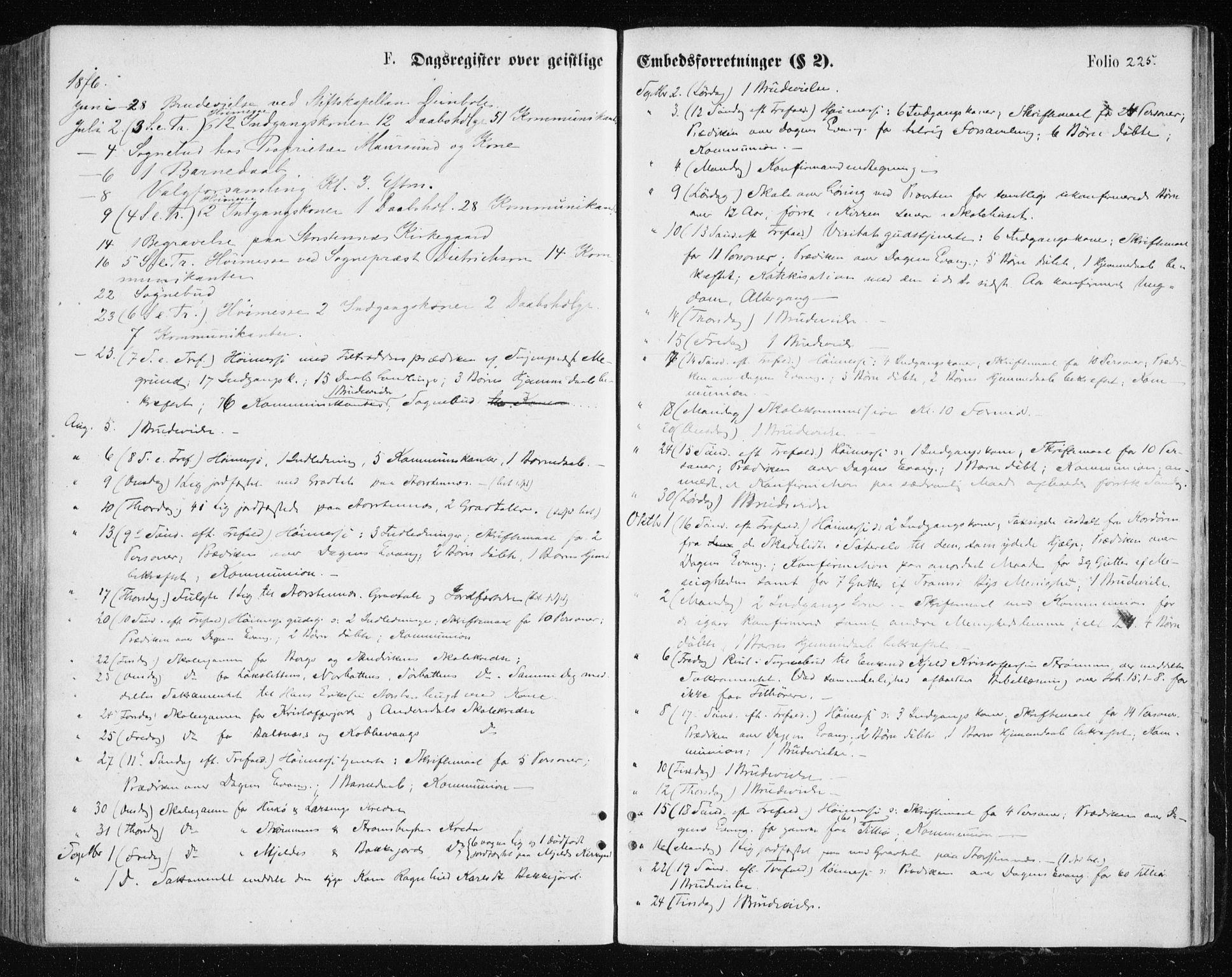 SATØ, Tromsøysund sokneprestkontor, G/Ga/L0003kirke: Parish register (official) no. 3, 1875-1880, p. 225