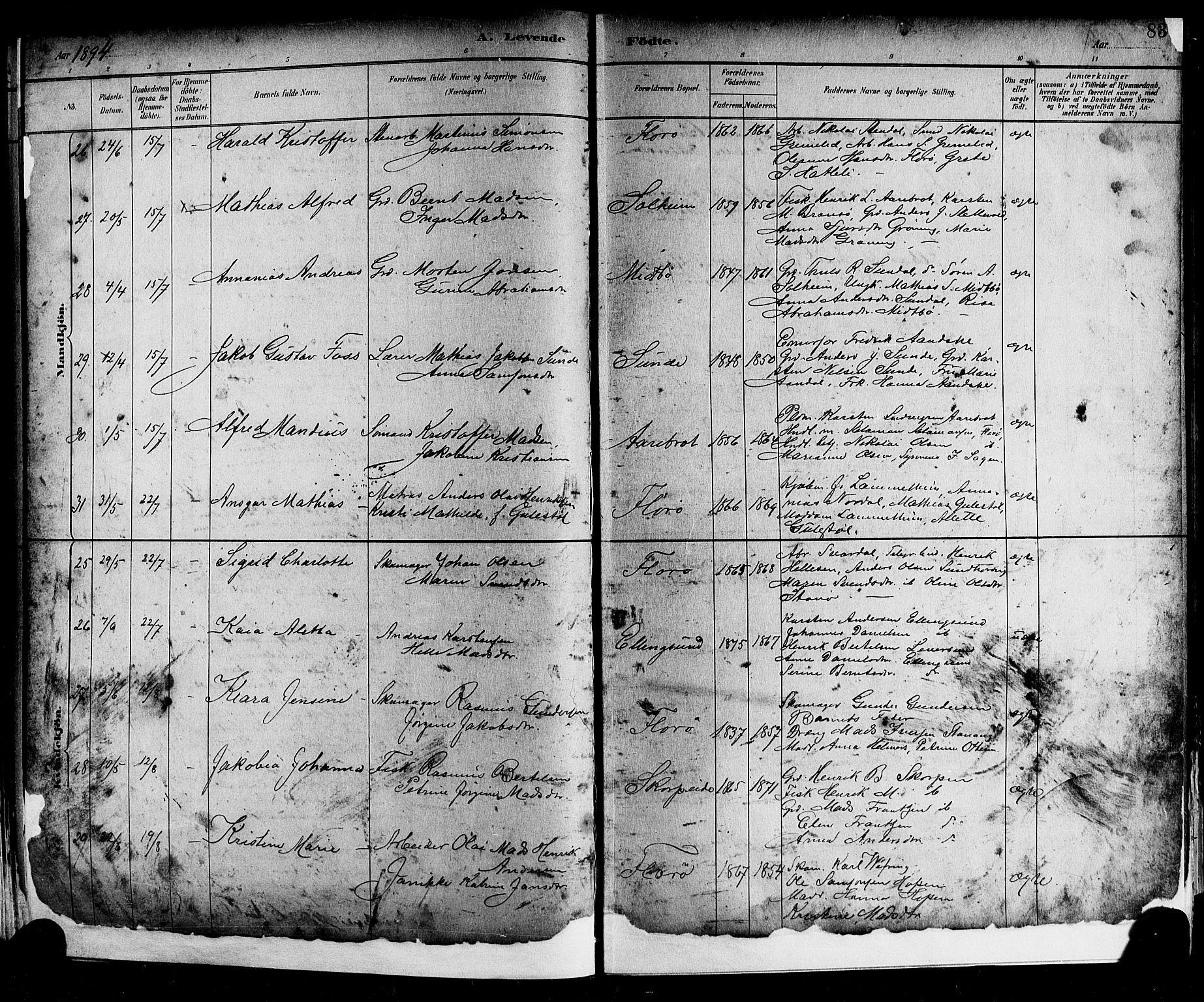 SAB, Kinn sokneprestembete, H: Parish register (copy) no. A 2, 1882-1906, p. 83