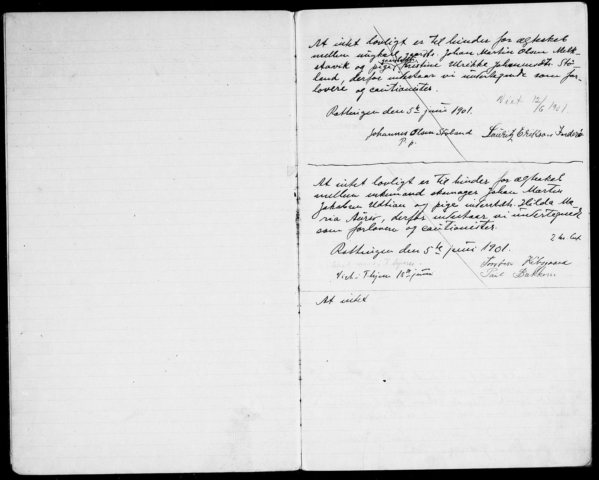 SAT, Arkivreferanse ukjent**, Banns register no. 640.I.1f.1, 1901-1917