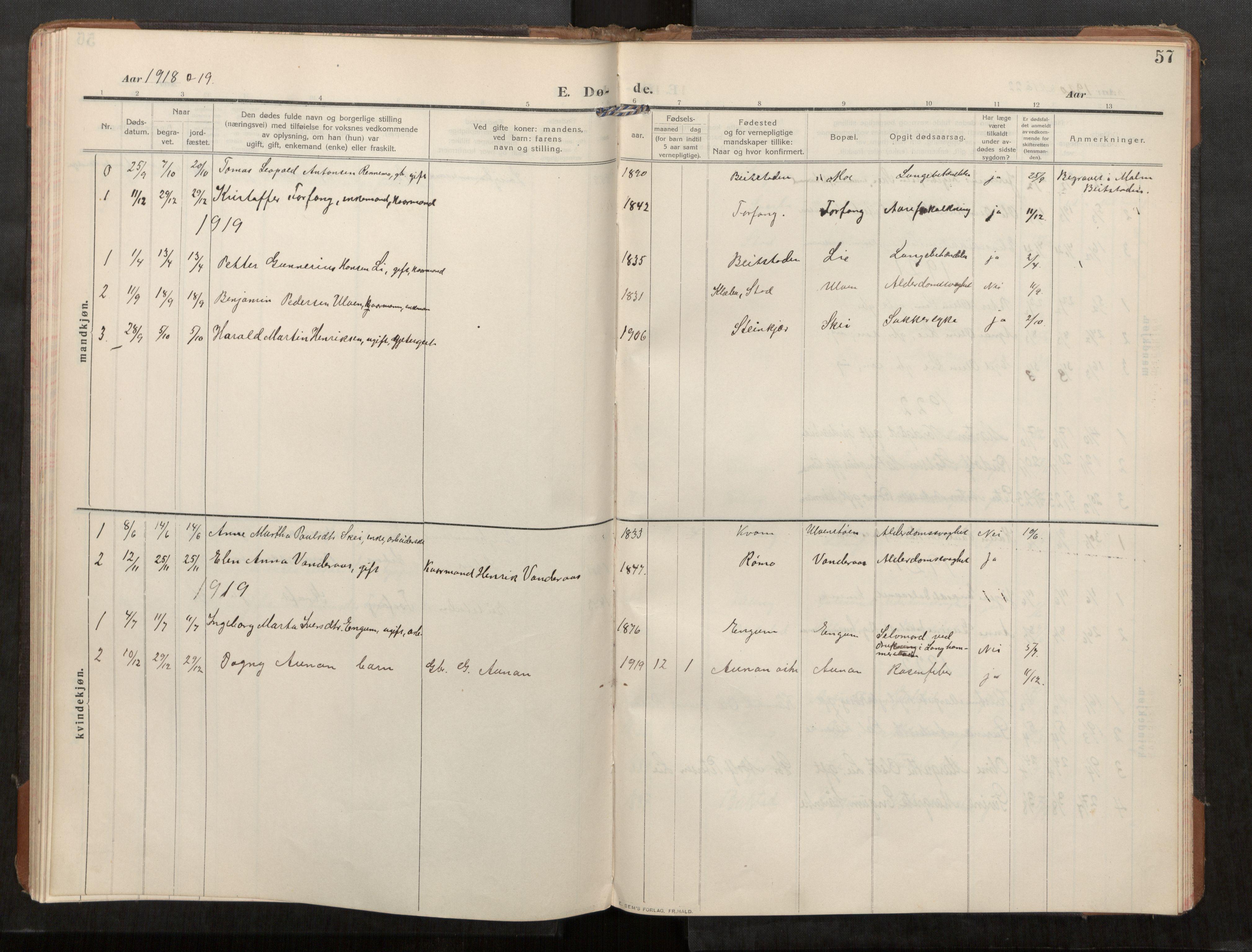 SAT, Stod sokneprestkontor, I/I1/I1a/L0003: Parish register (official) no. 3, 1909-1934, p. 57