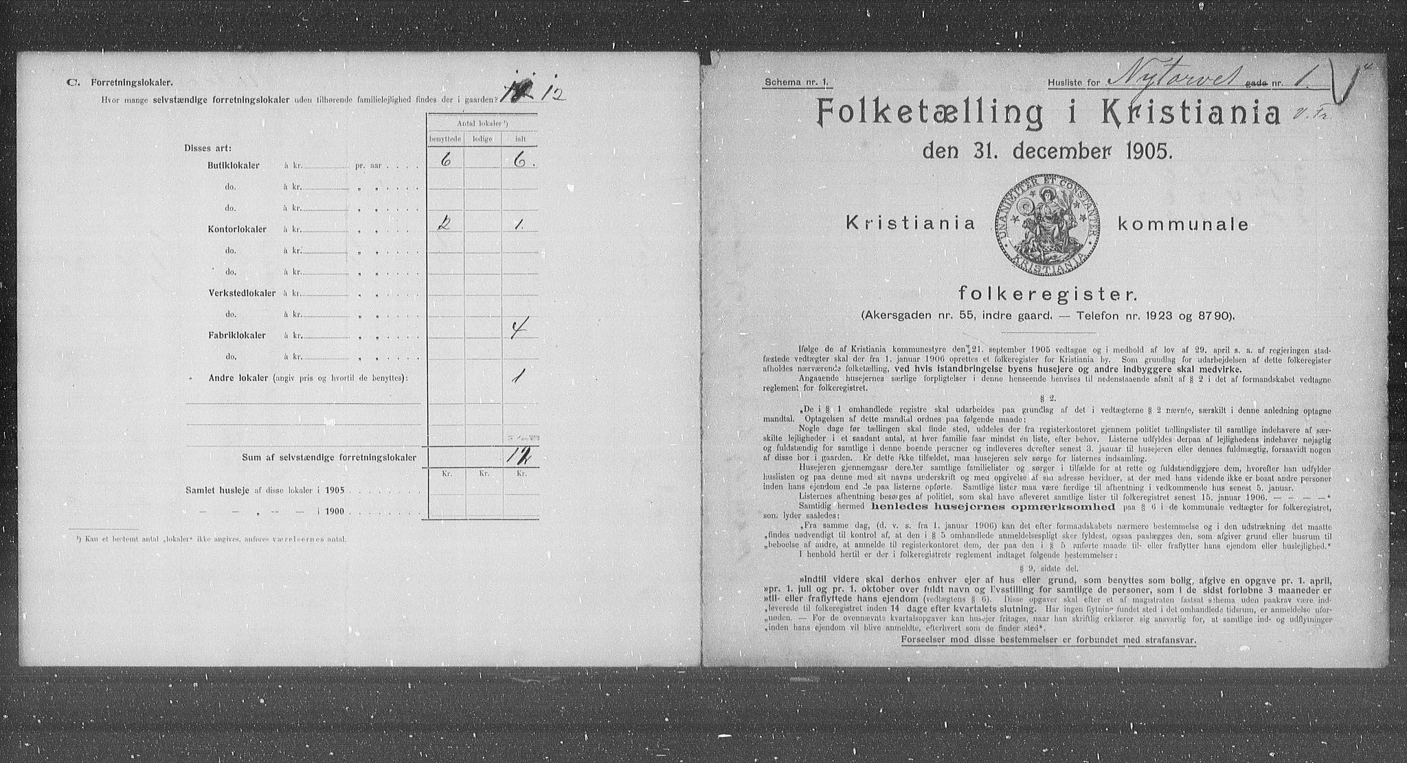 OBA, Municipal Census 1905 for Kristiania, 1905, p. 38995