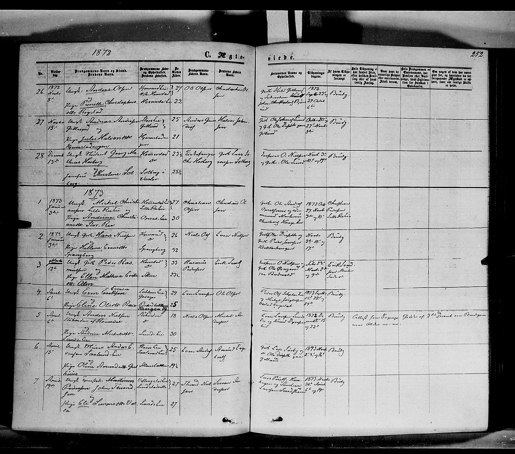 SAH, Stange prestekontor, K/L0013: Parish register (official) no. 13, 1862-1879, p. 252