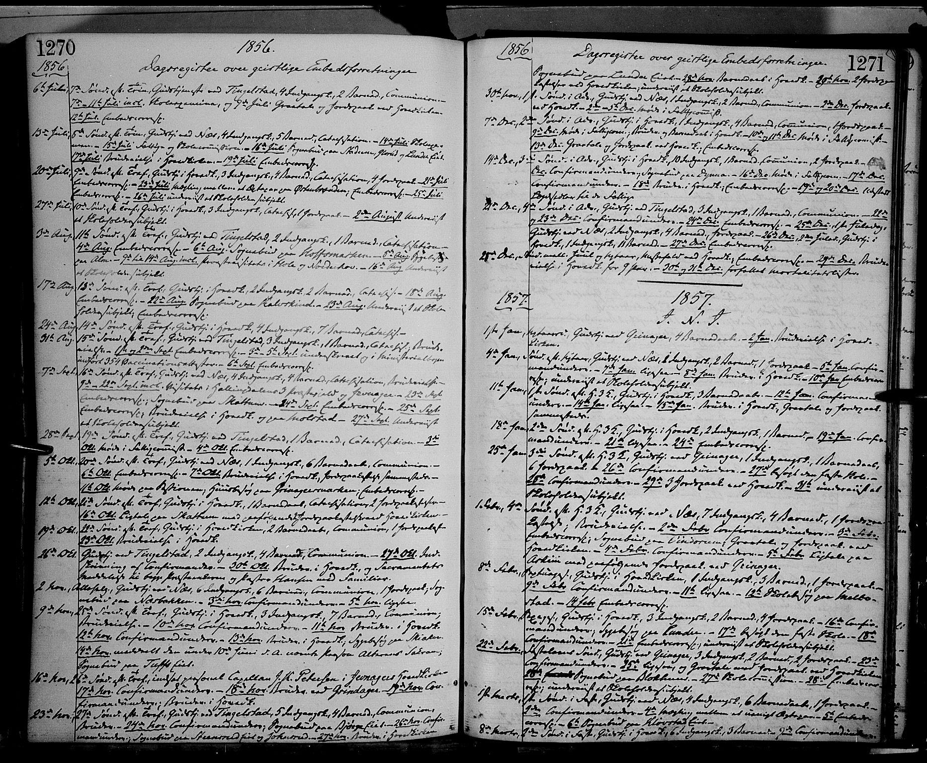 SAH, Gran prestekontor, Parish register (official) no. 12, 1856-1874, p. 1270-1271