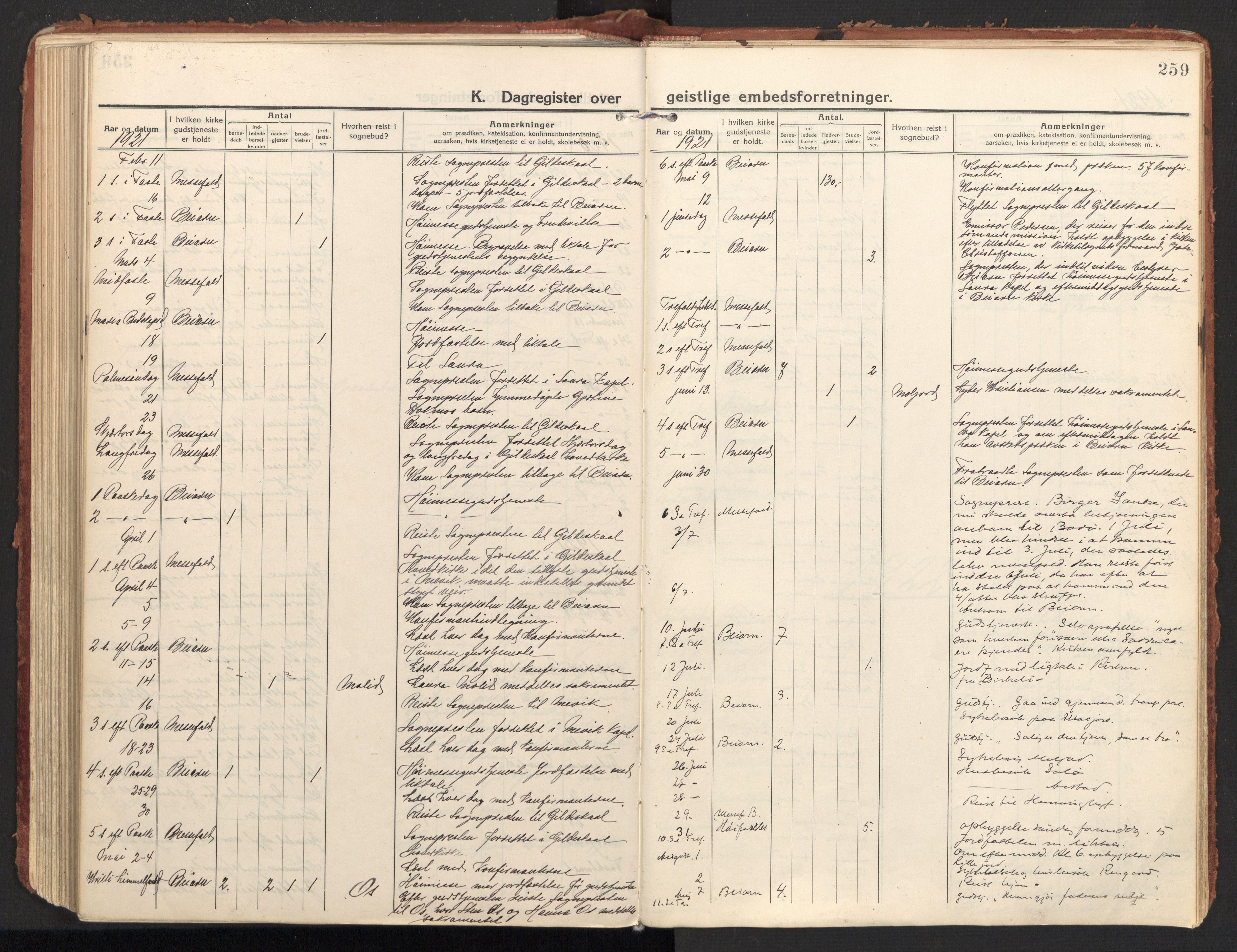 SAT, Ministerialprotokoller, klokkerbøker og fødselsregistre - Nordland, 846/L0650: Parish register (official) no. 846A08, 1916-1935, p. 259