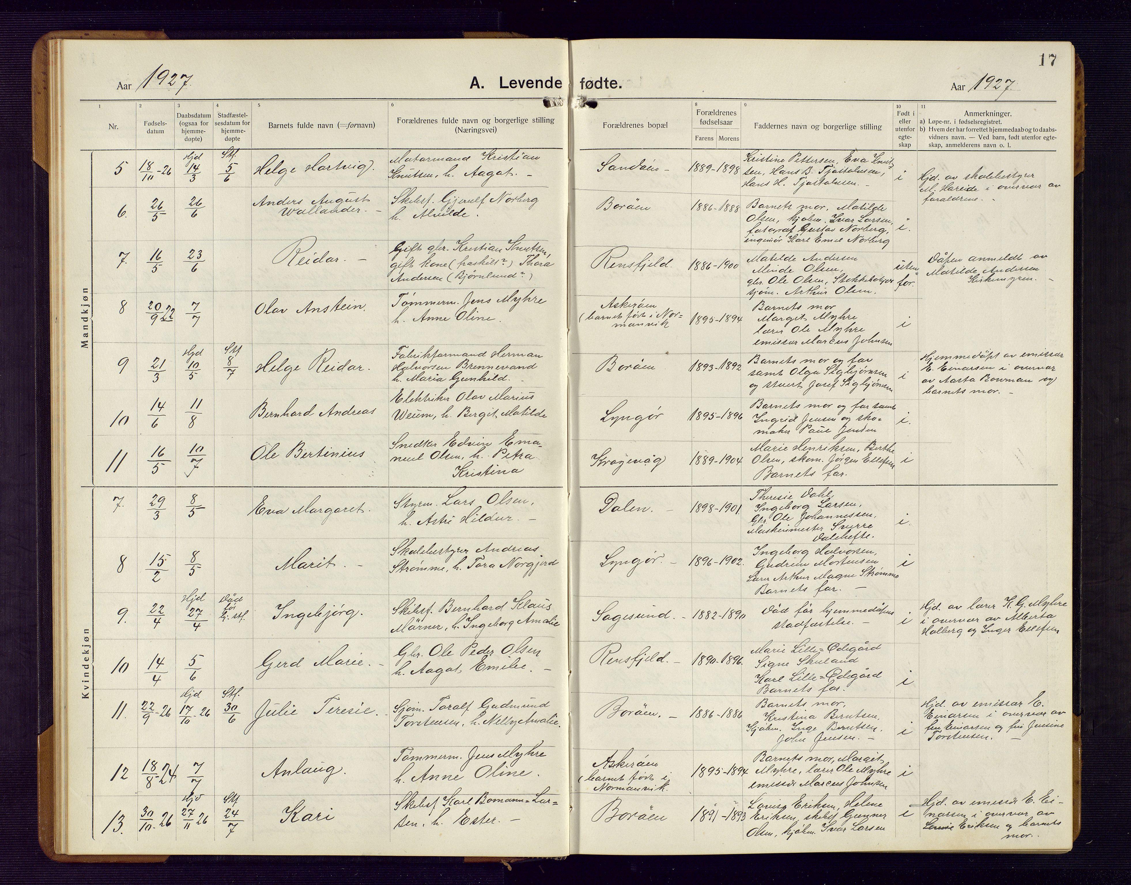 SAK, Dypvåg sokneprestkontor, F/Fb/Fba/L0015: Parish register (copy) no. B 15, 1922-1949, p. 17