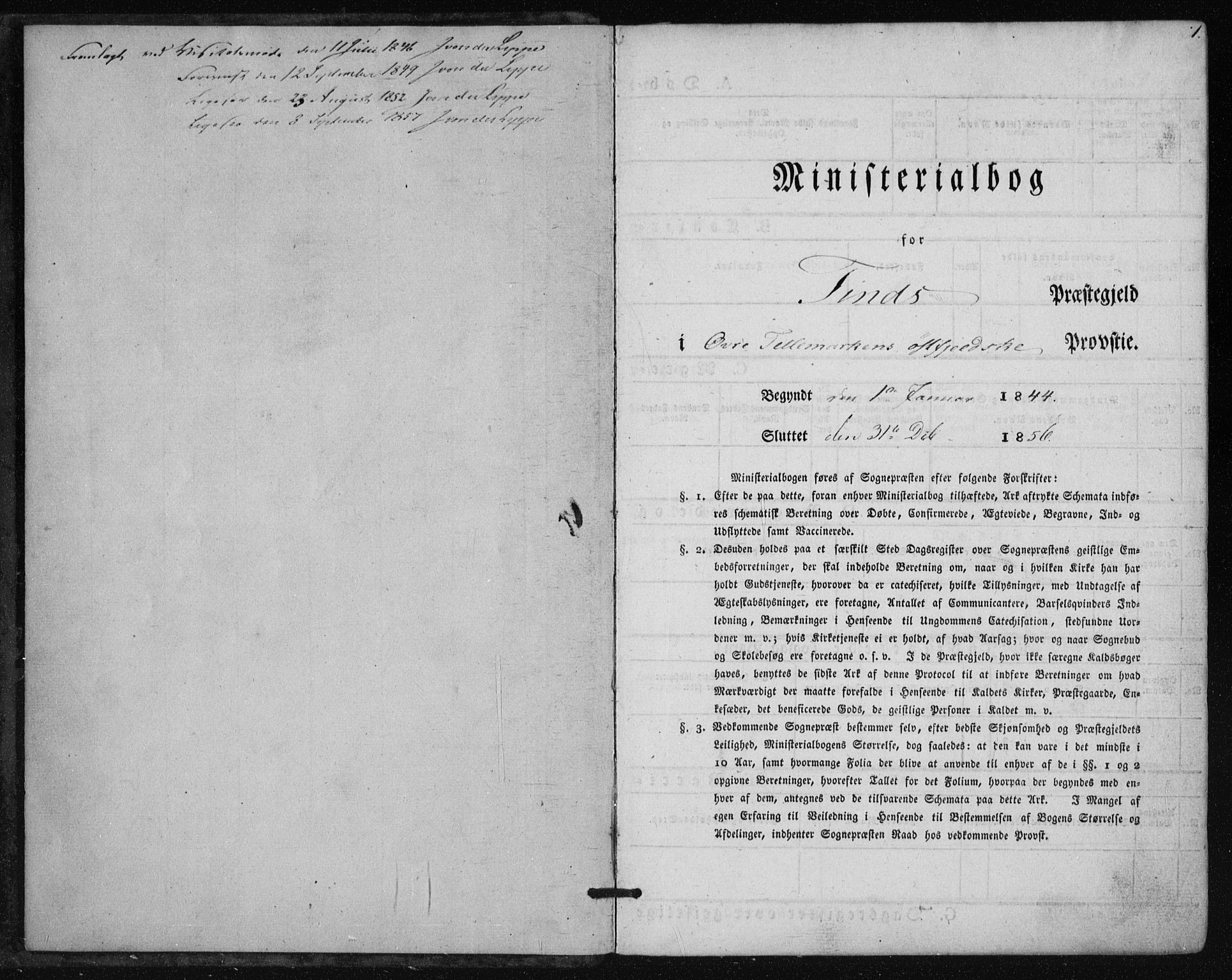 SAKO, Tinn kirkebøker, F/Fa/L0005: Parish register (official) no. I 5, 1844-1856, p. 1