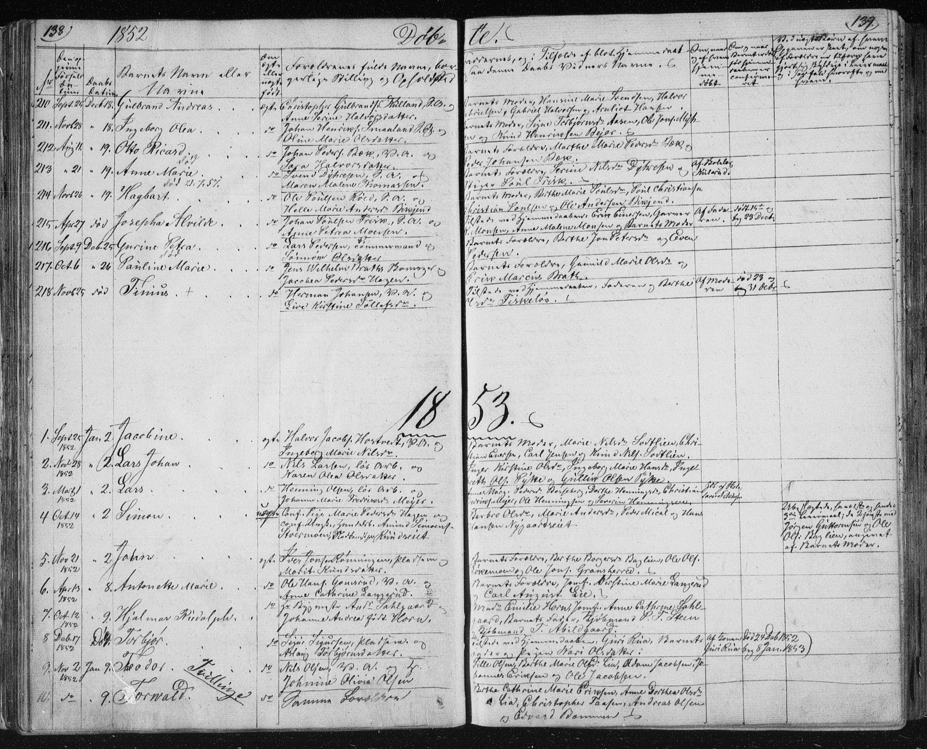 SAKO, Kongsberg kirkebøker, F/Fa/L0009: Parish register (official) no. I 9, 1839-1858, p. 138-139