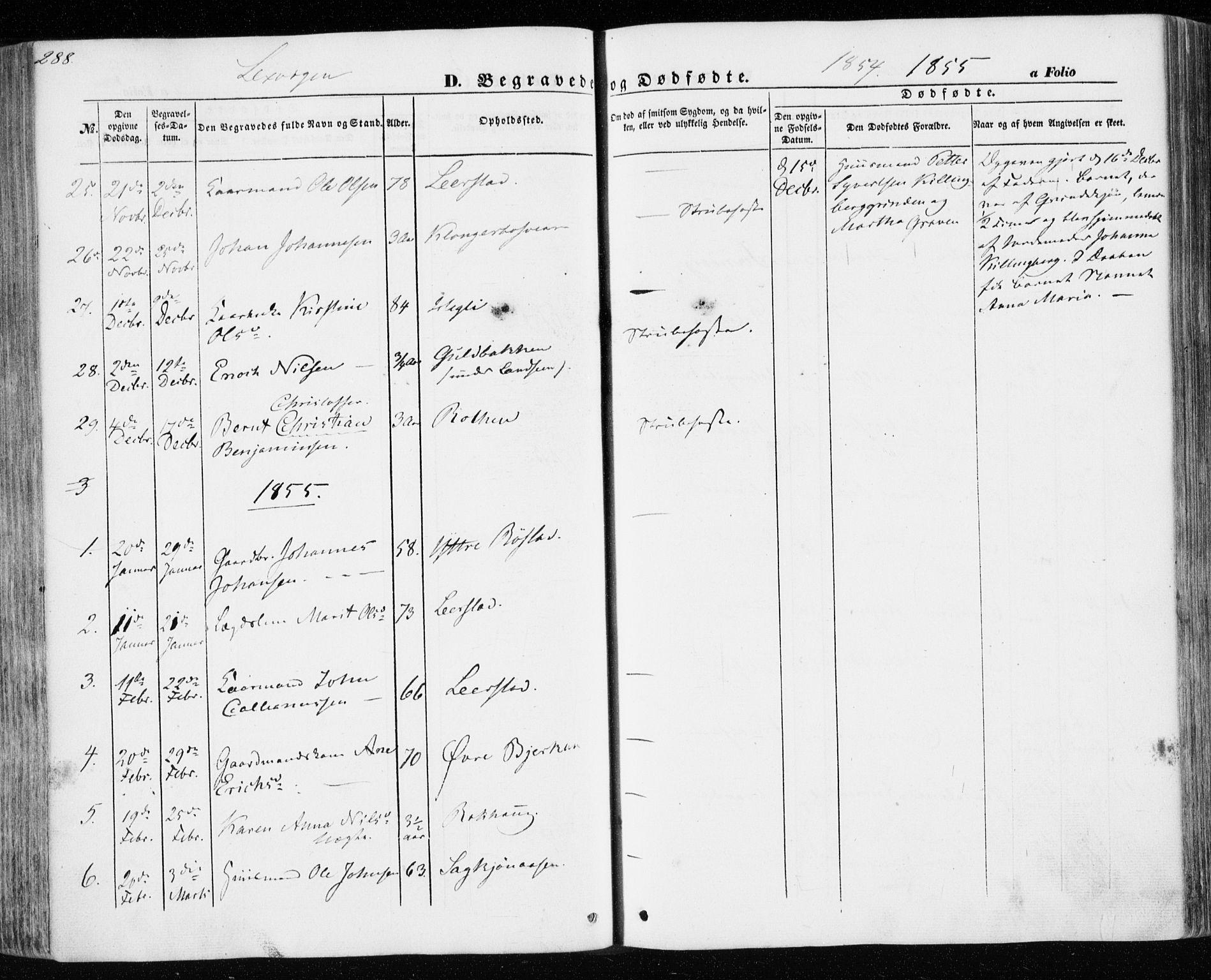 SAT, Ministerialprotokoller, klokkerbøker og fødselsregistre - Nord-Trøndelag, 701/L0008: Parish register (official) no. 701A08 /1, 1854-1863, p. 288