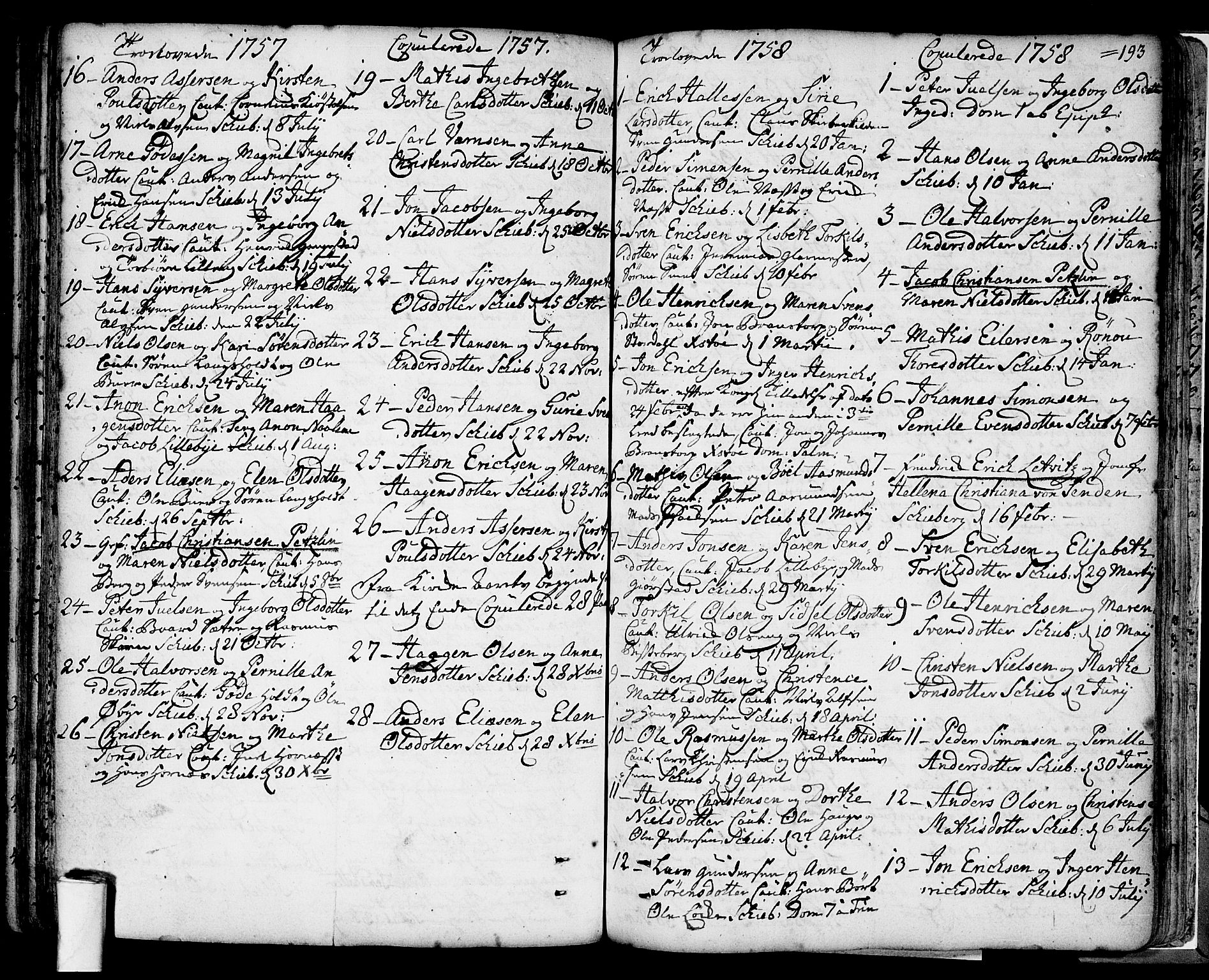 SAO, Skjeberg prestekontor Kirkebøker, F/Fa/L0002: Parish register (official) no. I 2, 1726-1791, p. 193