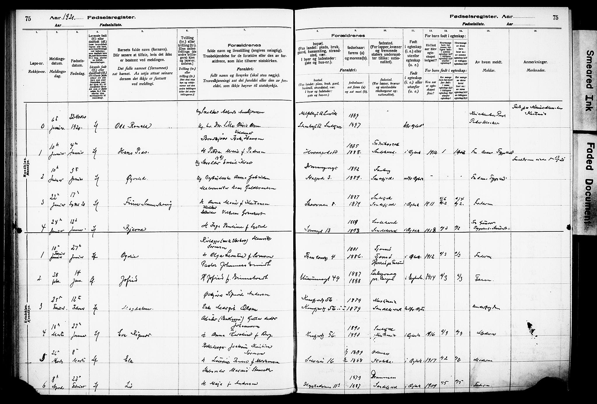 SAKO, Sandefjord kirkebøker, J/Ja/L0001: Birth register no. 1, 1916-1932, p. 75