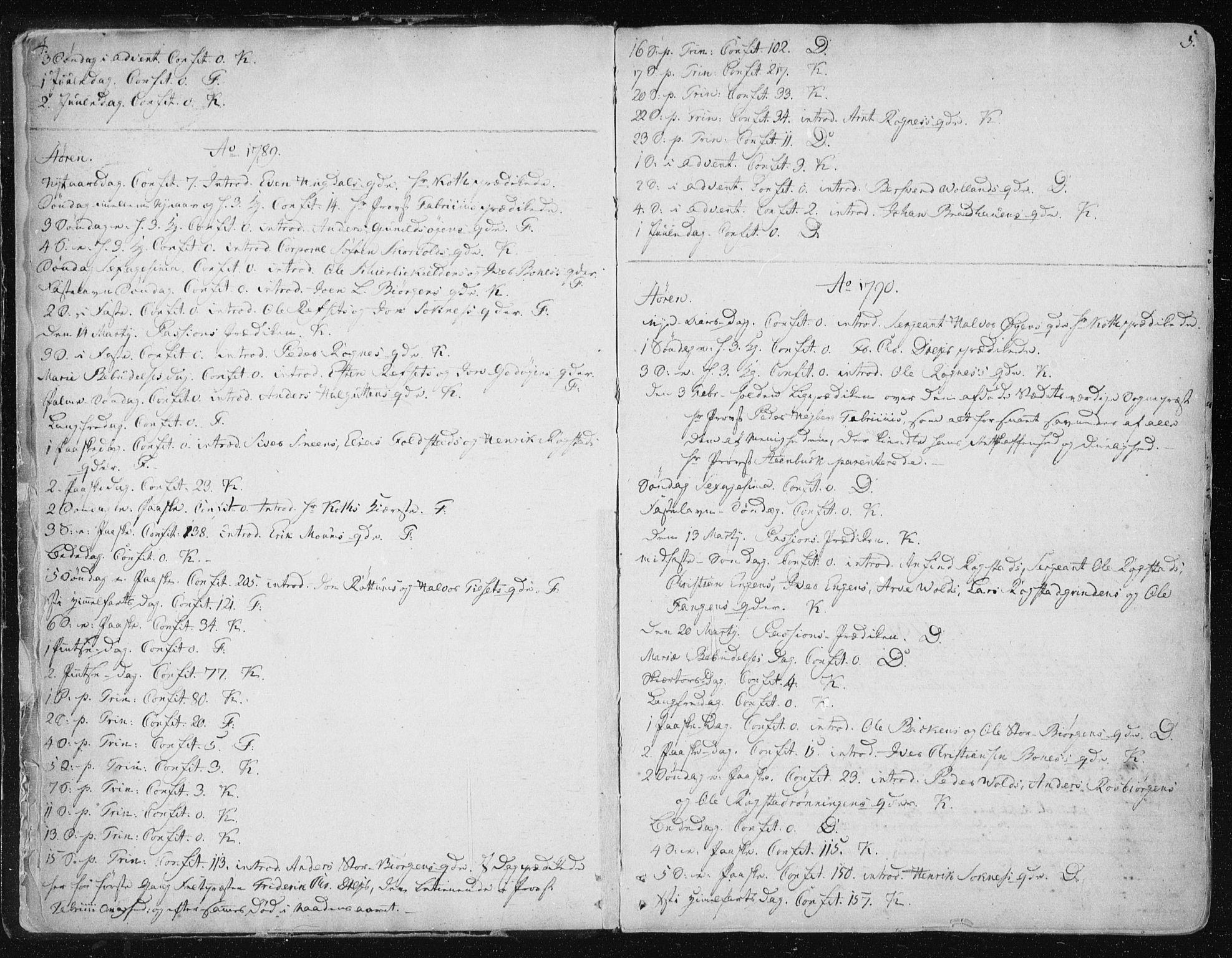 SAT, Ministerialprotokoller, klokkerbøker og fødselsregistre - Sør-Trøndelag, 687/L0992: Parish register (official) no. 687A03 /1, 1788-1815, p. 4-5