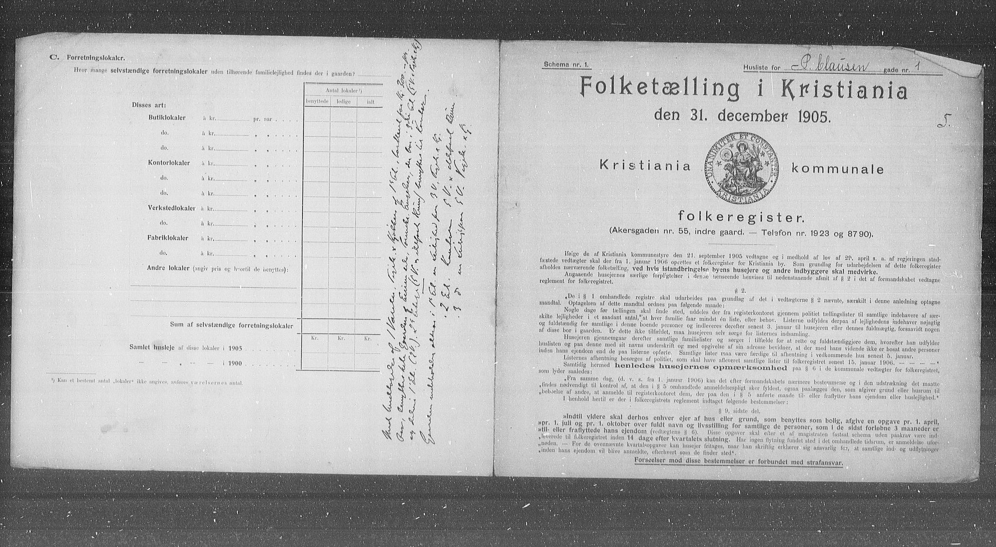 OBA, Municipal Census 1905 for Kristiania, 1905, p. 41423
