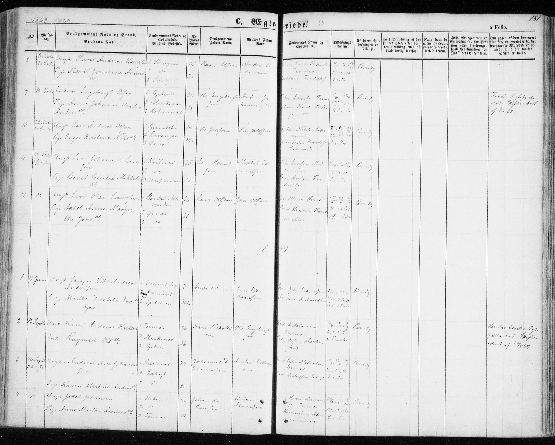 SATØ, Balsfjord sokneprestembete, Parish register (official) no. 3, 1856-1870, p. 181