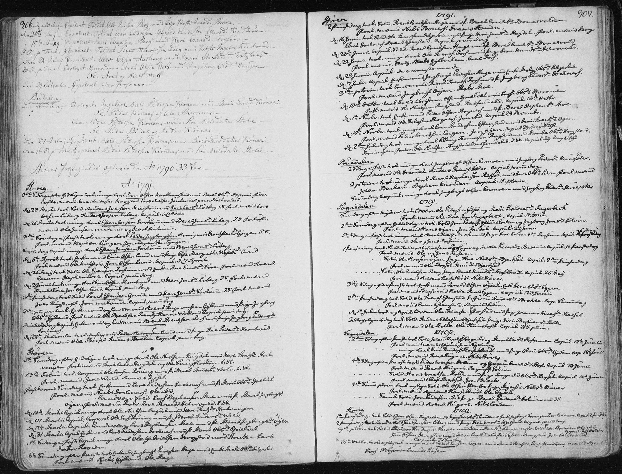 SAT, Ministerialprotokoller, klokkerbøker og fødselsregistre - Sør-Trøndelag, 687/L0992: Parish register (official) no. 687A03 /1, 1788-1815, p. 306-307