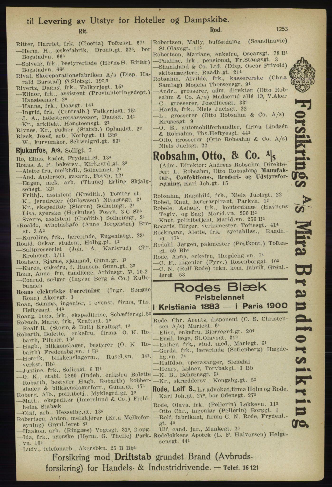 PUBL, Kristiania/Oslo adressebok, 1918, p. 1278