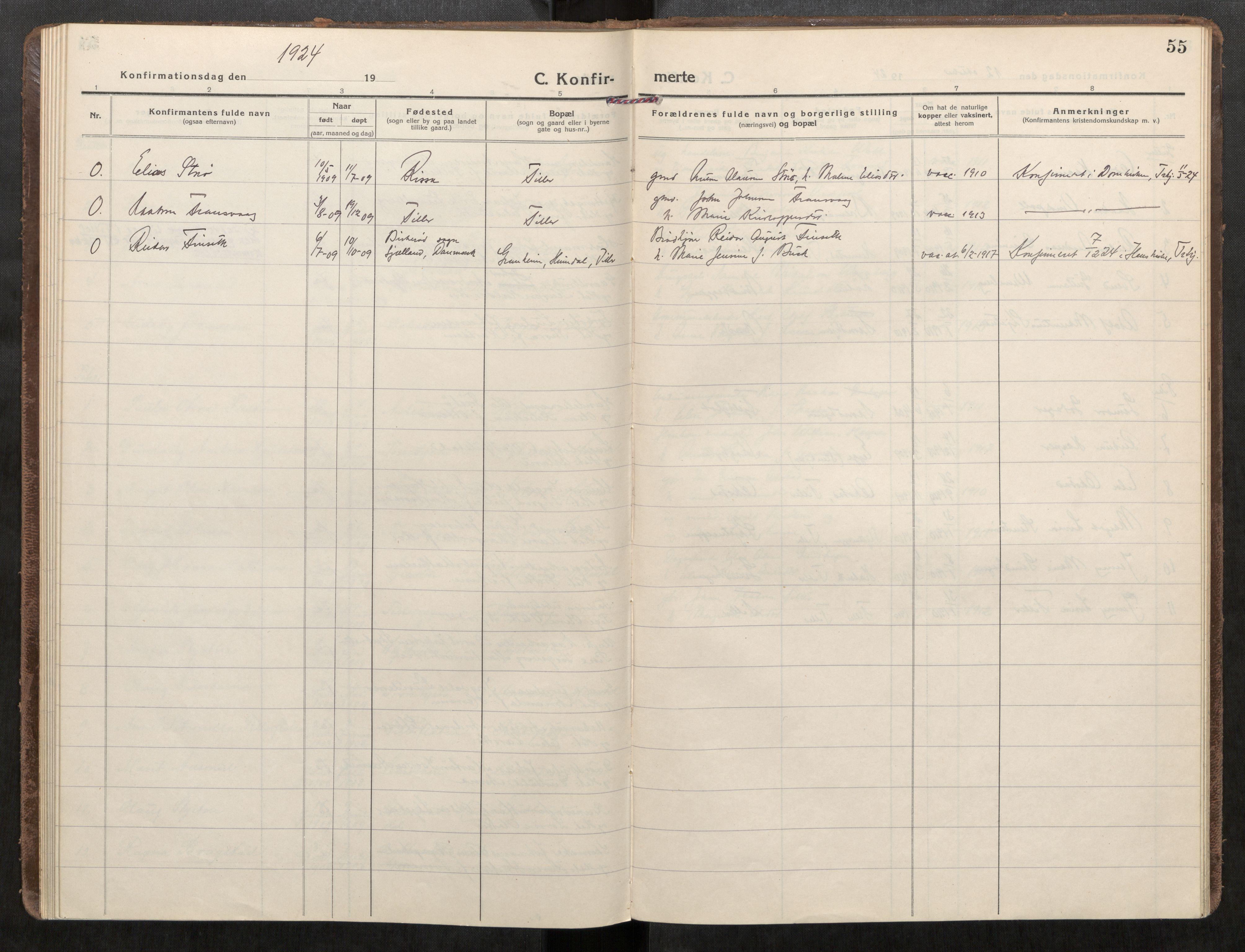 SAT, Klæbu sokneprestkontor, Parish register (official) no. 3, 1917-1924, p. 55