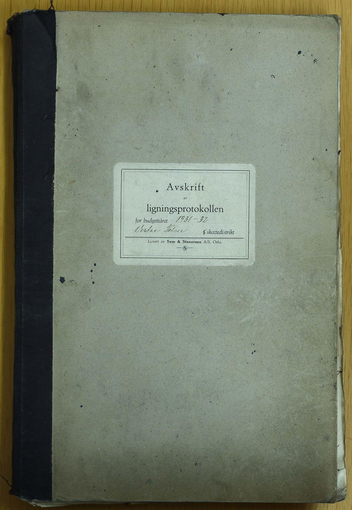 KVT, Vestre Toten municipality archive - Tax assessment protocol 1931-1932, 1931-1932