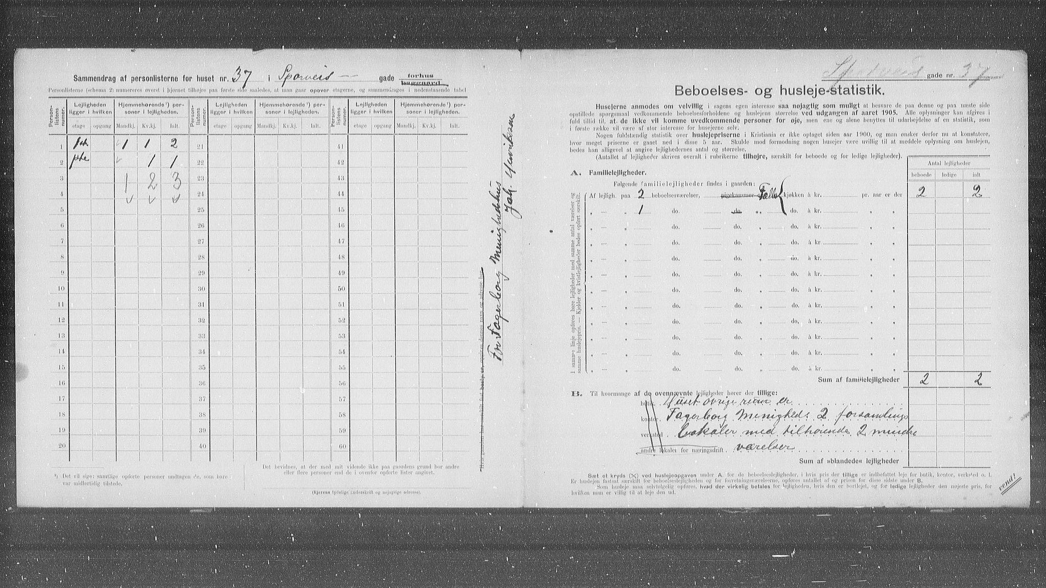 OBA, Municipal Census 1905 for Kristiania, 1905, p. 52137