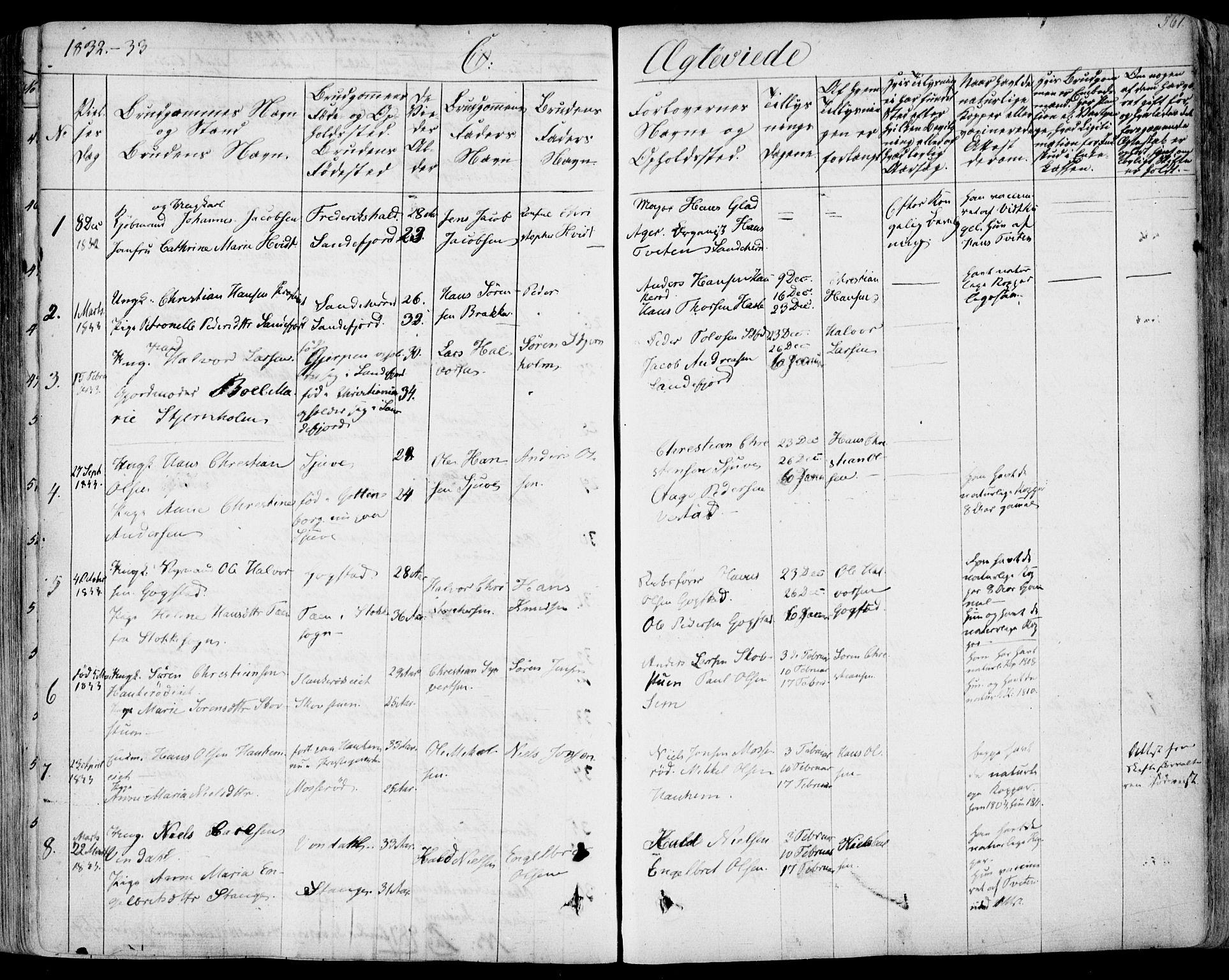 SAKO, Sandar kirkebøker, F/Fa/L0005: Parish register (official) no. 5, 1832-1847, p. 560-561