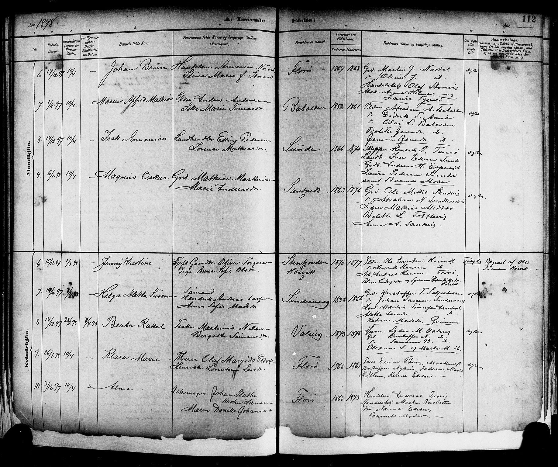 SAB, Kinn Sokneprestembete, Parish register (copy) no. A 2, 1882-1906, p. 112