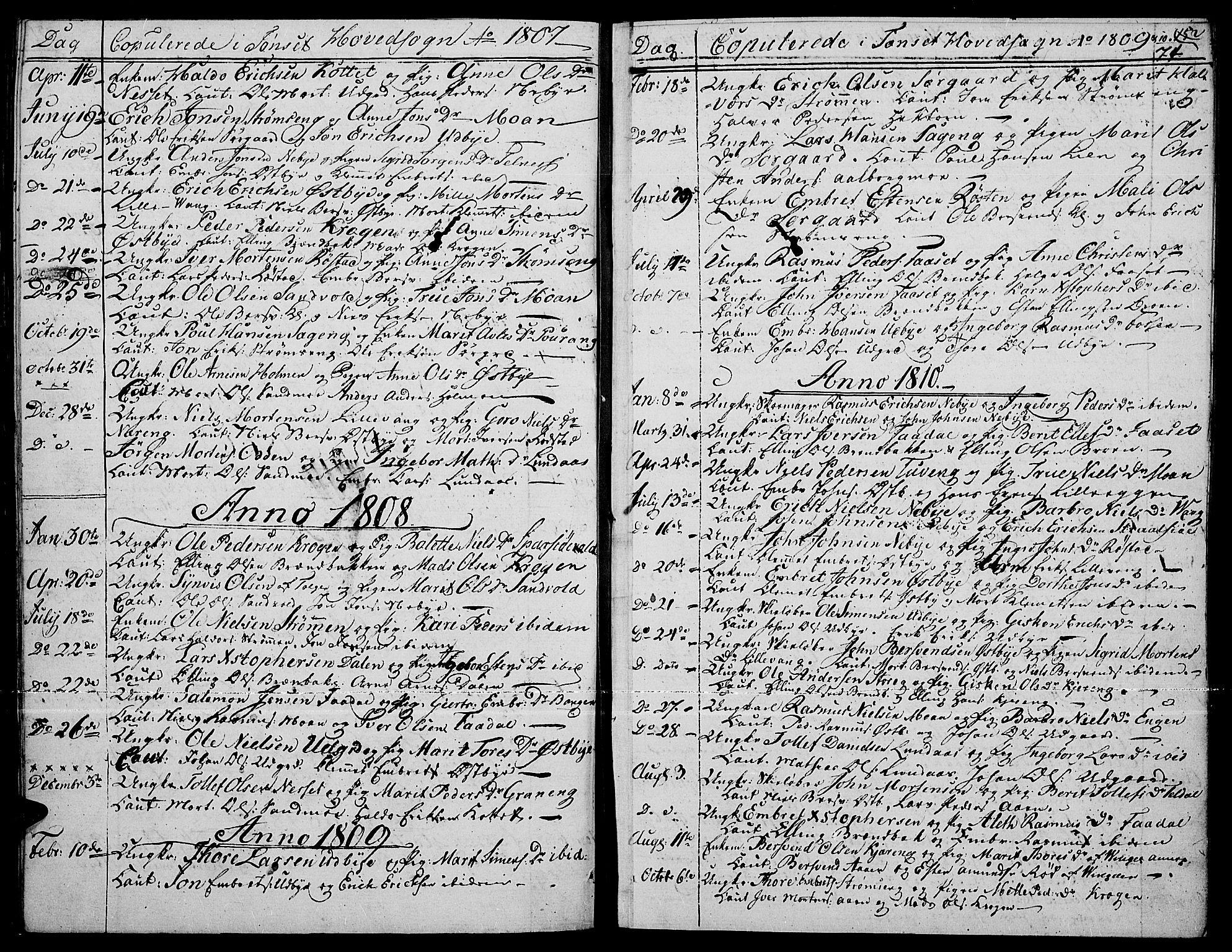 SAH, Tynset prestekontor, Parish register (official) no. 15, 1801-1814, p. 74