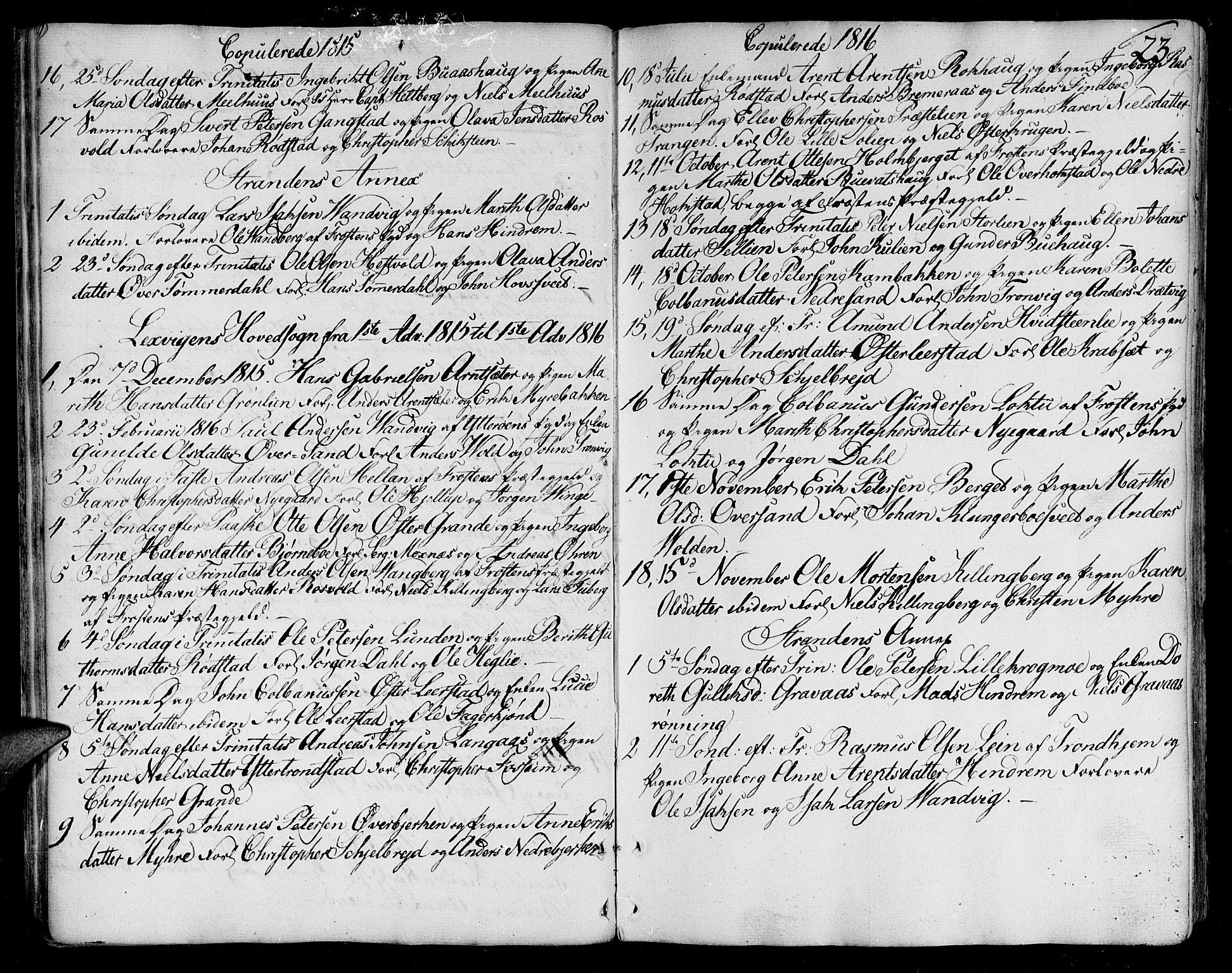 SAT, Ministerialprotokoller, klokkerbøker og fødselsregistre - Nord-Trøndelag, 701/L0004: Parish register (official) no. 701A04, 1783-1816, p. 23