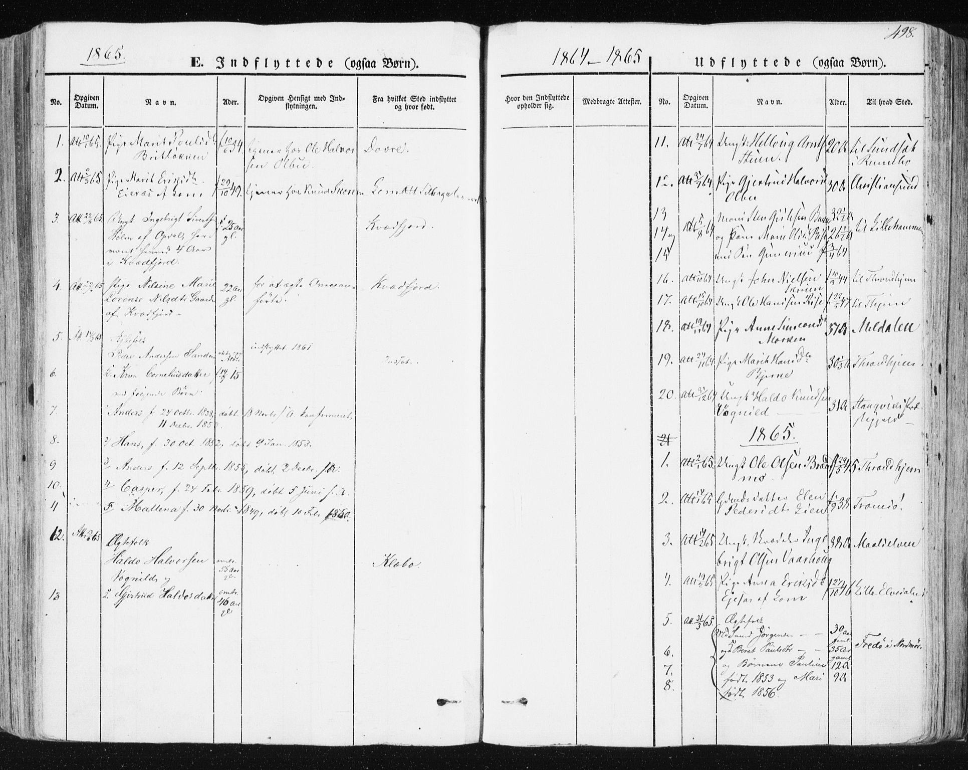 SAT, Ministerialprotokoller, klokkerbøker og fødselsregistre - Sør-Trøndelag, 678/L0899: Parish register (official) no. 678A08, 1848-1872, p. 498