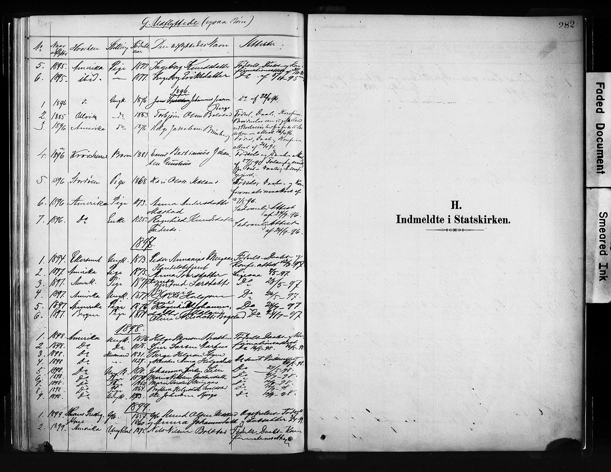 SAB, Evanger sokneprestembete*, Parish register (official) no. A 1, 1877-1899, p. 282