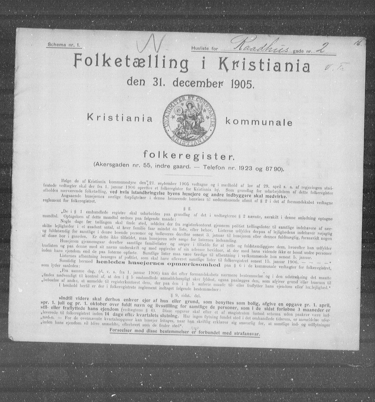 OBA, Municipal Census 1905 for Kristiania, 1905, p. 43493