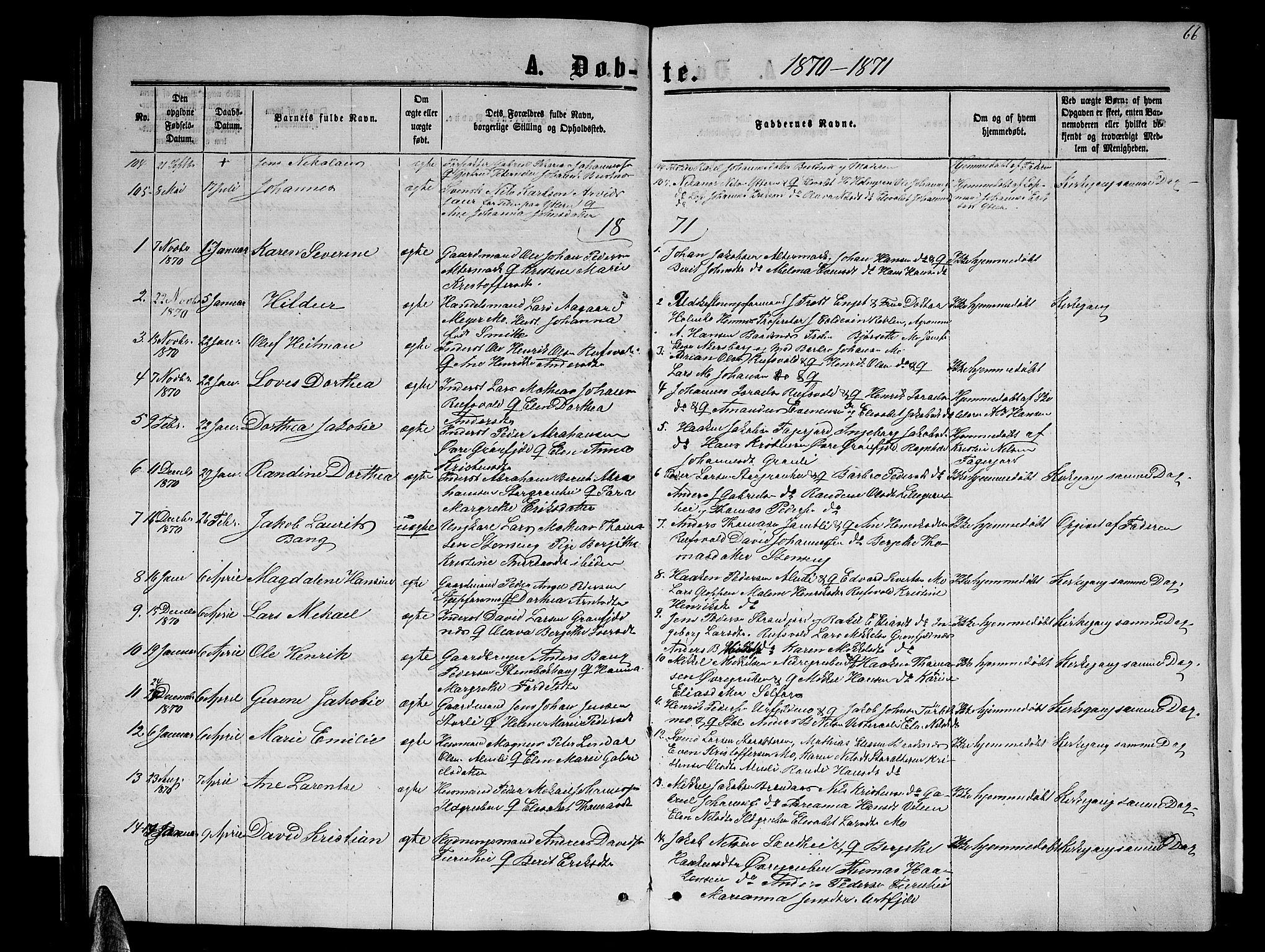 SAT, Ministerialprotokoller, klokkerbøker og fødselsregistre - Nordland, 827/L0415: Parish register (copy) no. 827C04, 1864-1886, p. 66