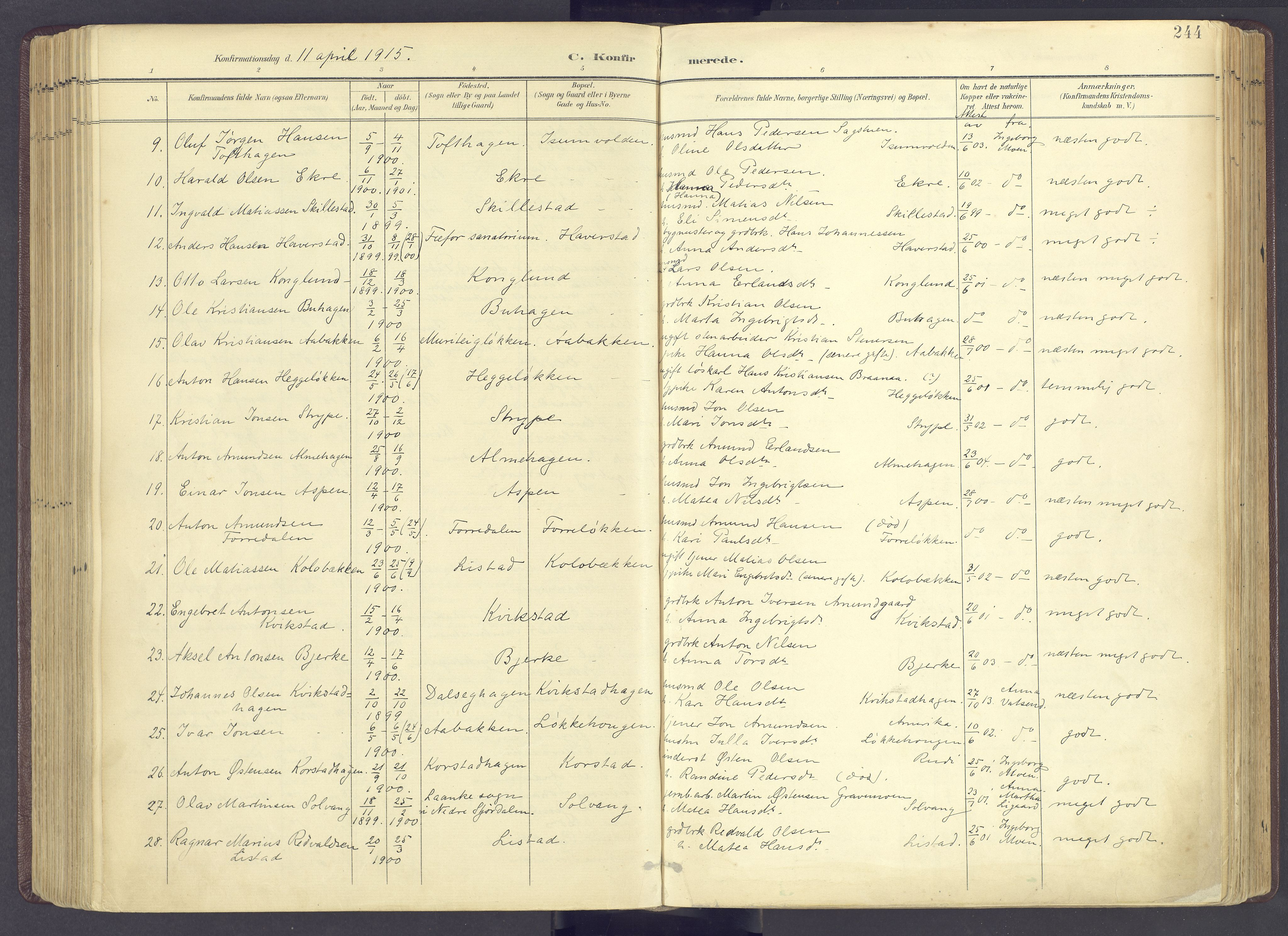 SAH, Sør-Fron prestekontor, H/Ha/Haa/L0004: Parish register (official) no. 4, 1898-1919, p. 244