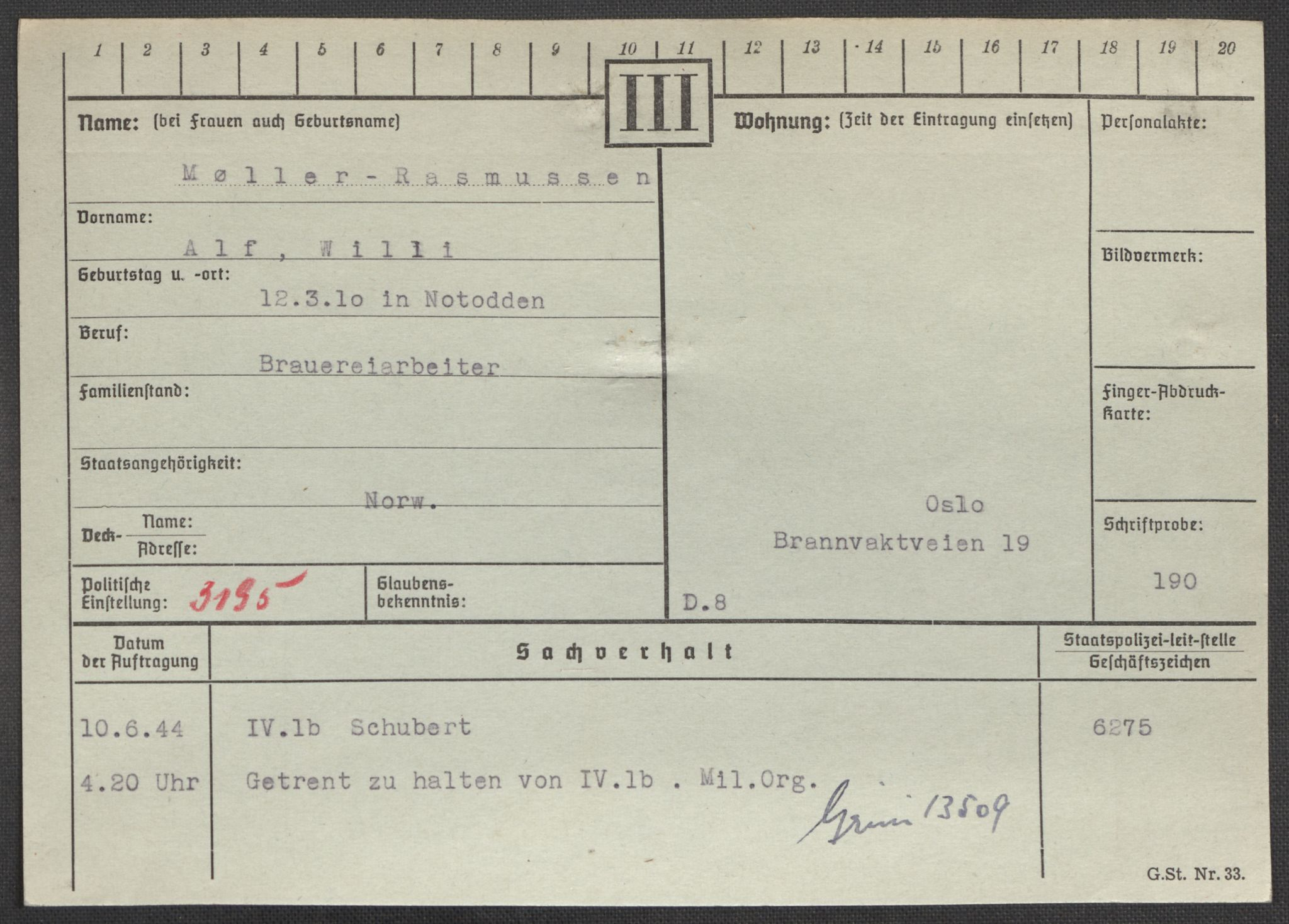 RA, Befehlshaber der Sicherheitspolizei und des SD, E/Ea/Eaa/L0007: Register over norske fanger i Møllergata 19: Lundb-N, 1940-1945, p. 936