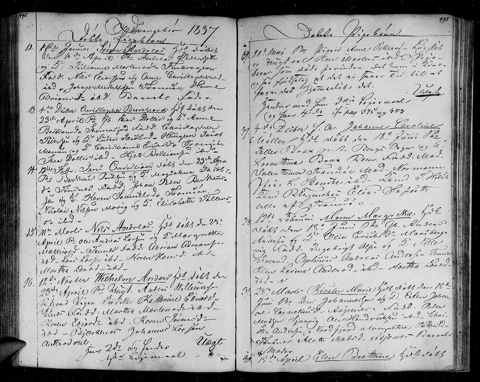SATØ, Tromsø sokneprestkontor/stiftsprosti/domprosti, G/Ga/L0008kirke: Parish register (official) no. 8, 1829-1837, p. 496-497