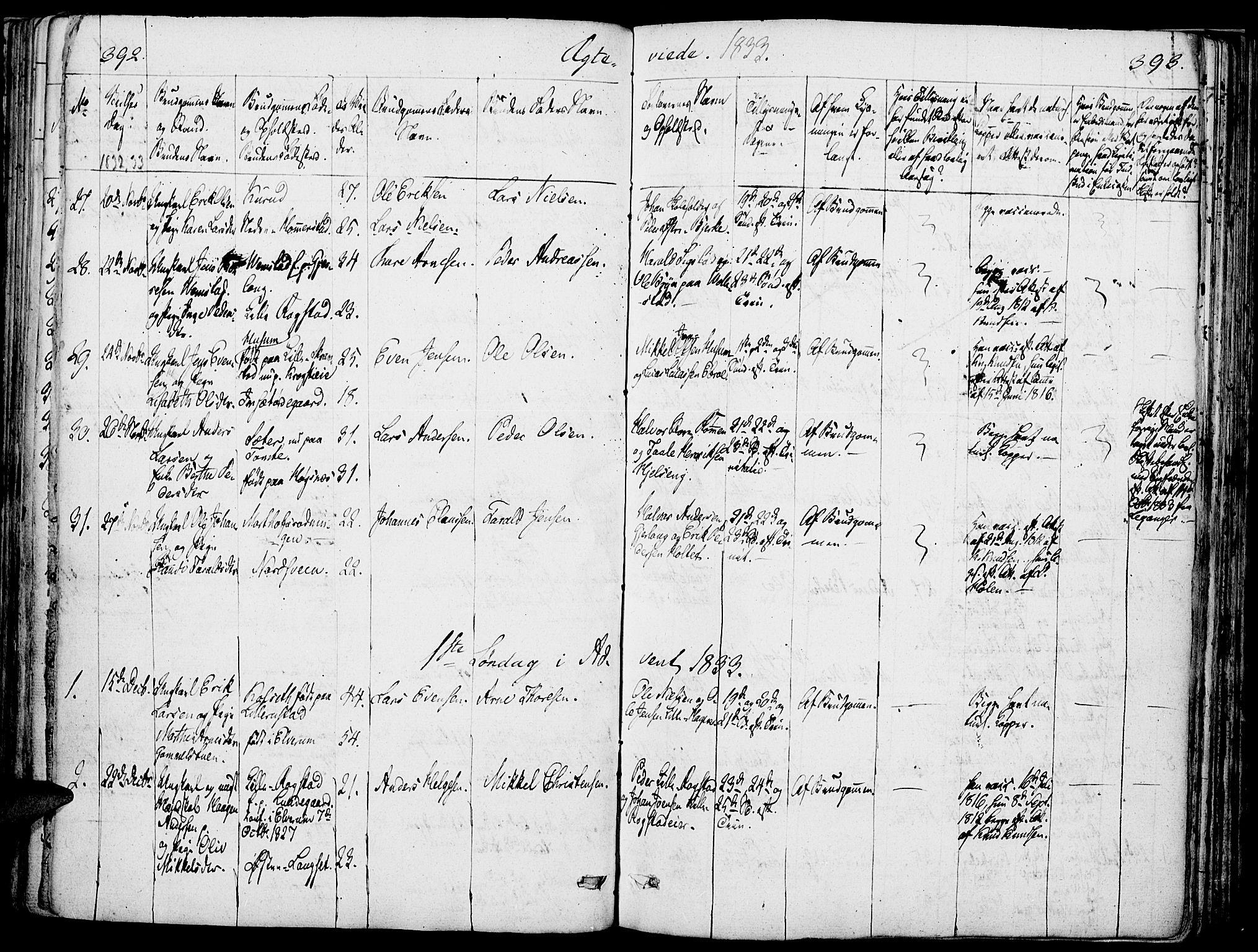 SAH, Løten prestekontor, K/Ka/L0006: Parish register (official) no. 6, 1832-1849, p. 392-393