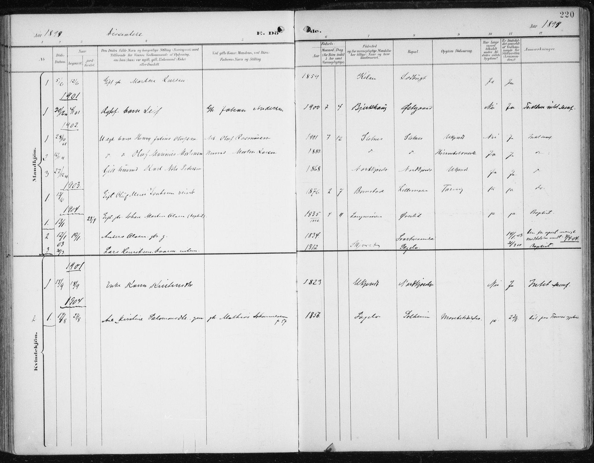 SATØ, Balsfjord sokneprestembete, Parish register (official) no. 6, 1897-1909, p. 220