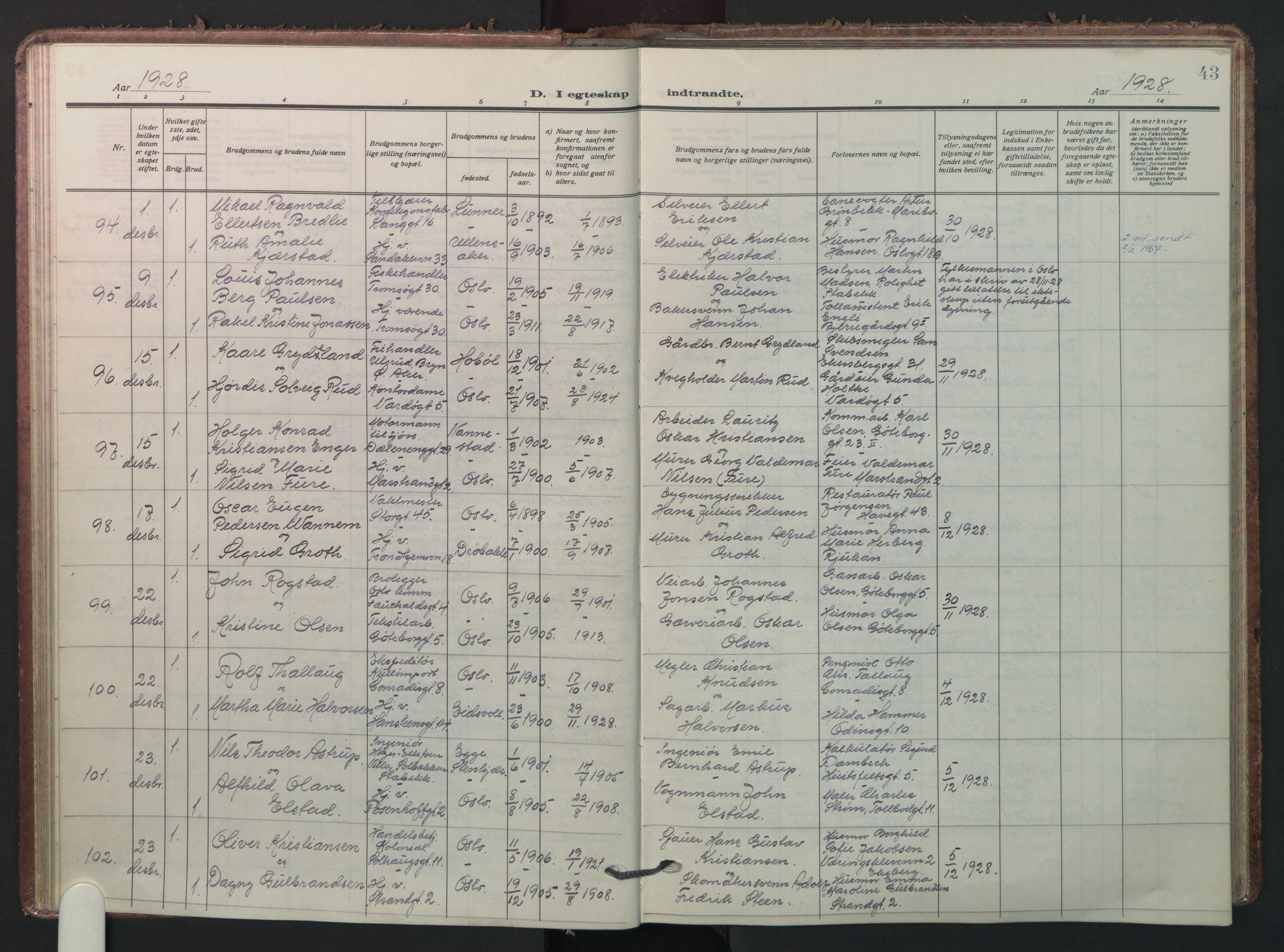 SAO, Petrus prestekontor Kirkebøker, F/Fa/L0016: Parish register (official) no. 16, 1925-1936, p. 43