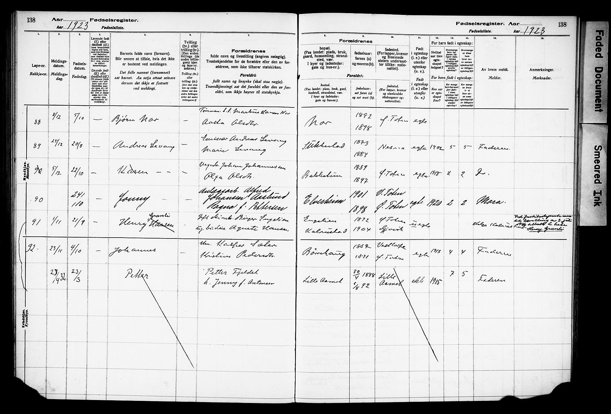 SAH, Østre Toten prestekontor, Birth register no. 15, 1916-1928, p. 138