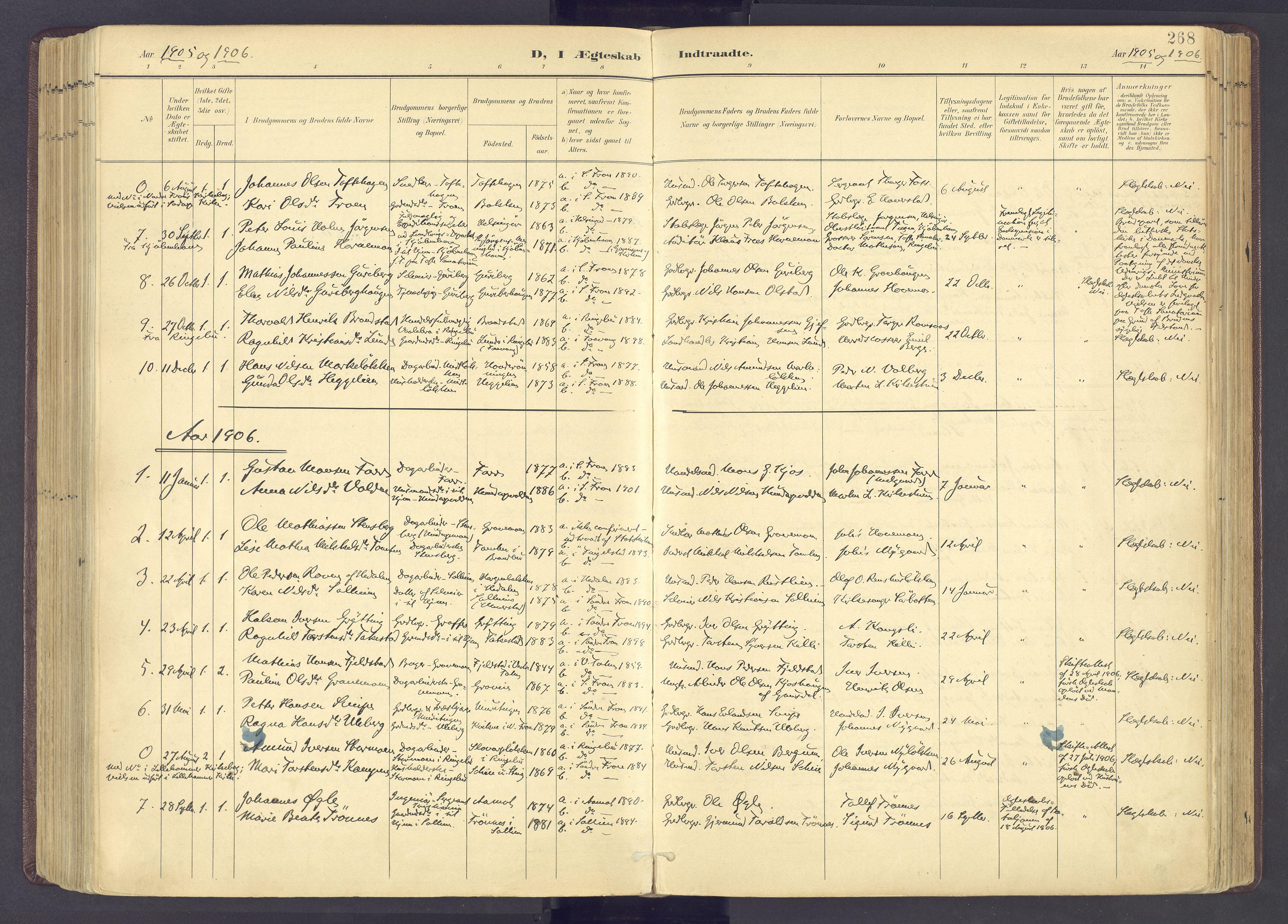 SAH, Sør-Fron prestekontor, H/Ha/Haa/L0004: Parish register (official) no. 4, 1898-1919, p. 268