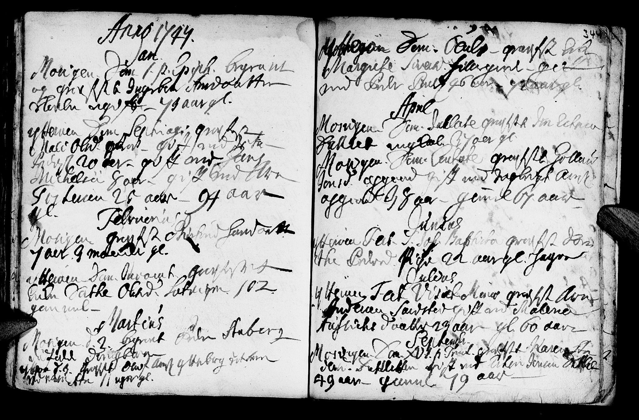 SAT, Ministerialprotokoller, klokkerbøker og fødselsregistre - Nord-Trøndelag, 722/L0215: Parish register (official) no. 722A02, 1718-1755, p. 344