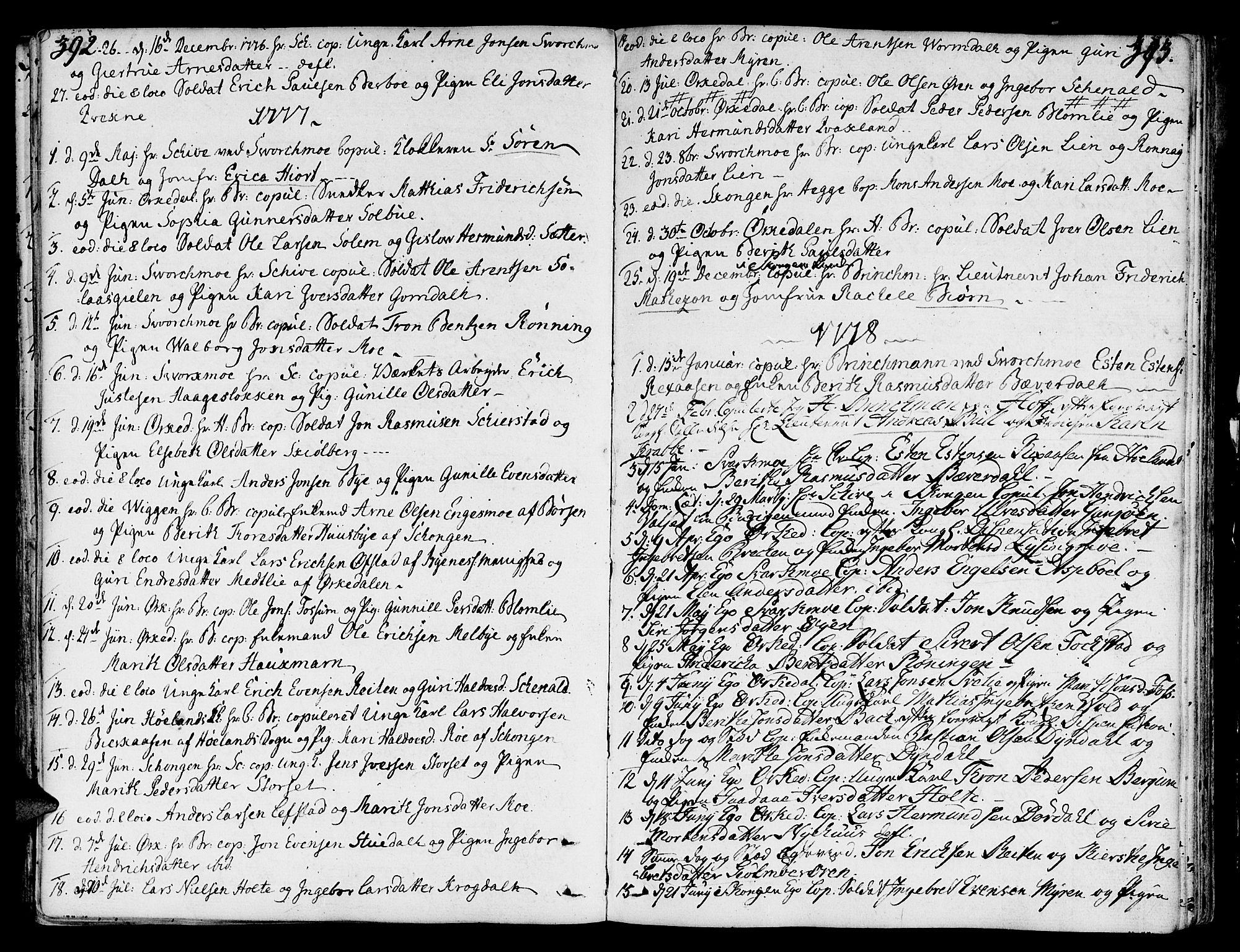 SAT, Ministerialprotokoller, klokkerbøker og fødselsregistre - Sør-Trøndelag, 668/L0802: Parish register (official) no. 668A02, 1776-1799, p. 392-393