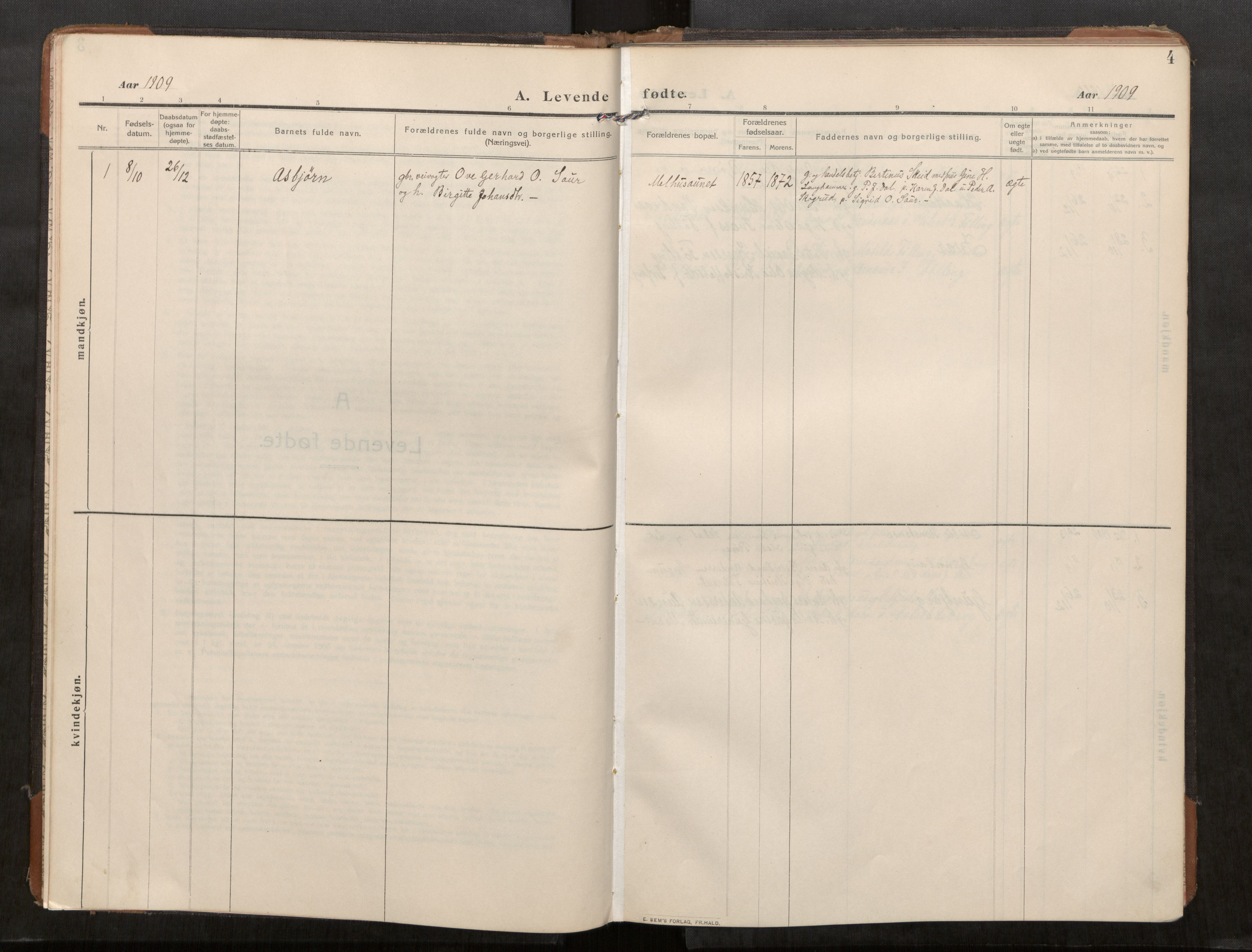 SAT, Stod sokneprestkontor, I/I1/I1a/L0003: Parish register (official) no. 3, 1909-1934, p. 4