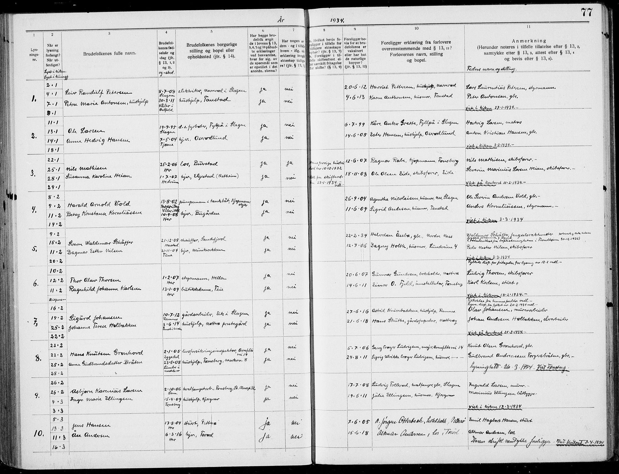 SAKO, Nøtterøy kirkebøker, H/Ha/L0001: Banns register no. 1, 1919-1937, p. 77
