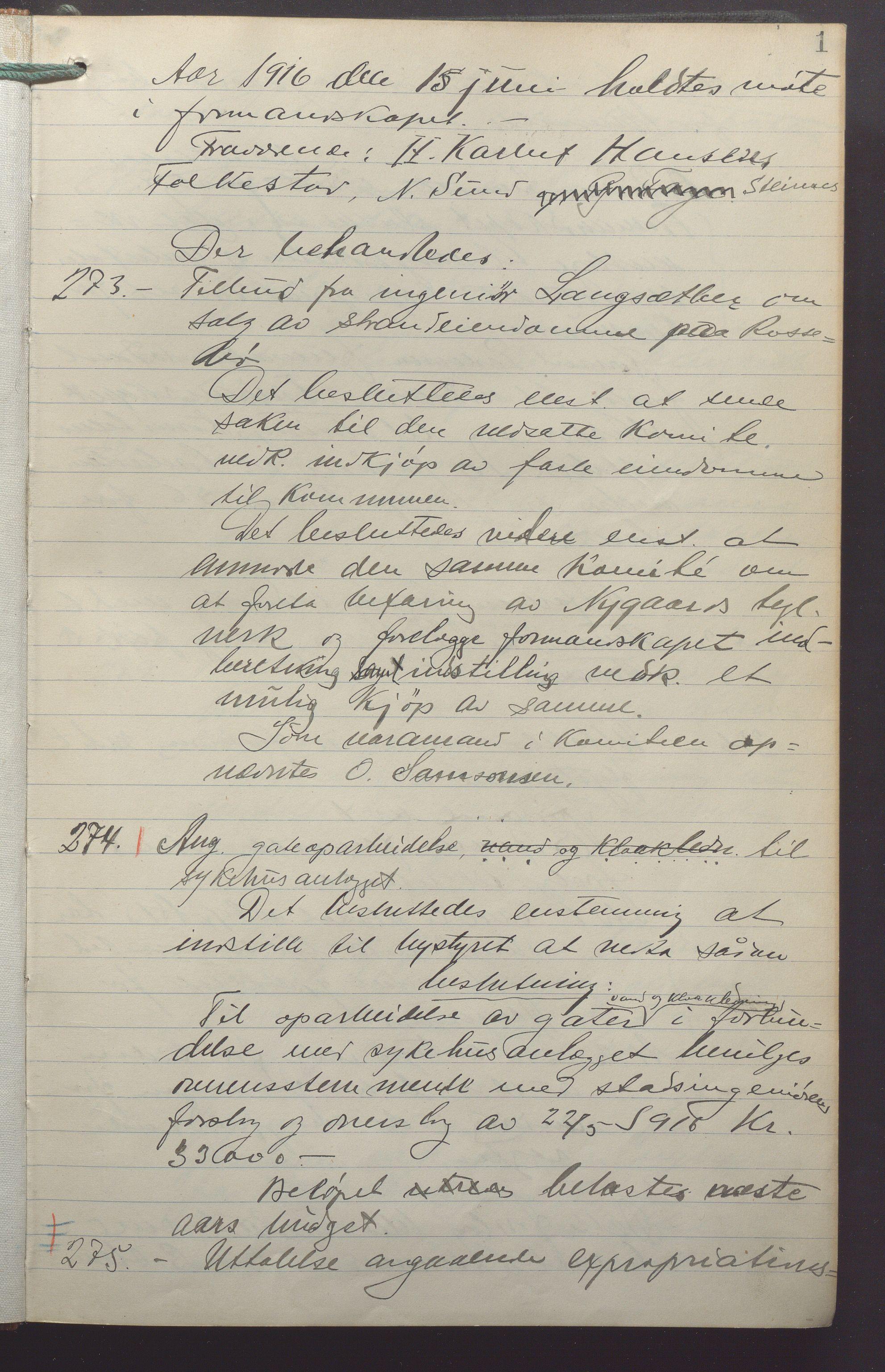 IKAR, Haugesund kommune - Formannskapet, 1916-1918, p. 1