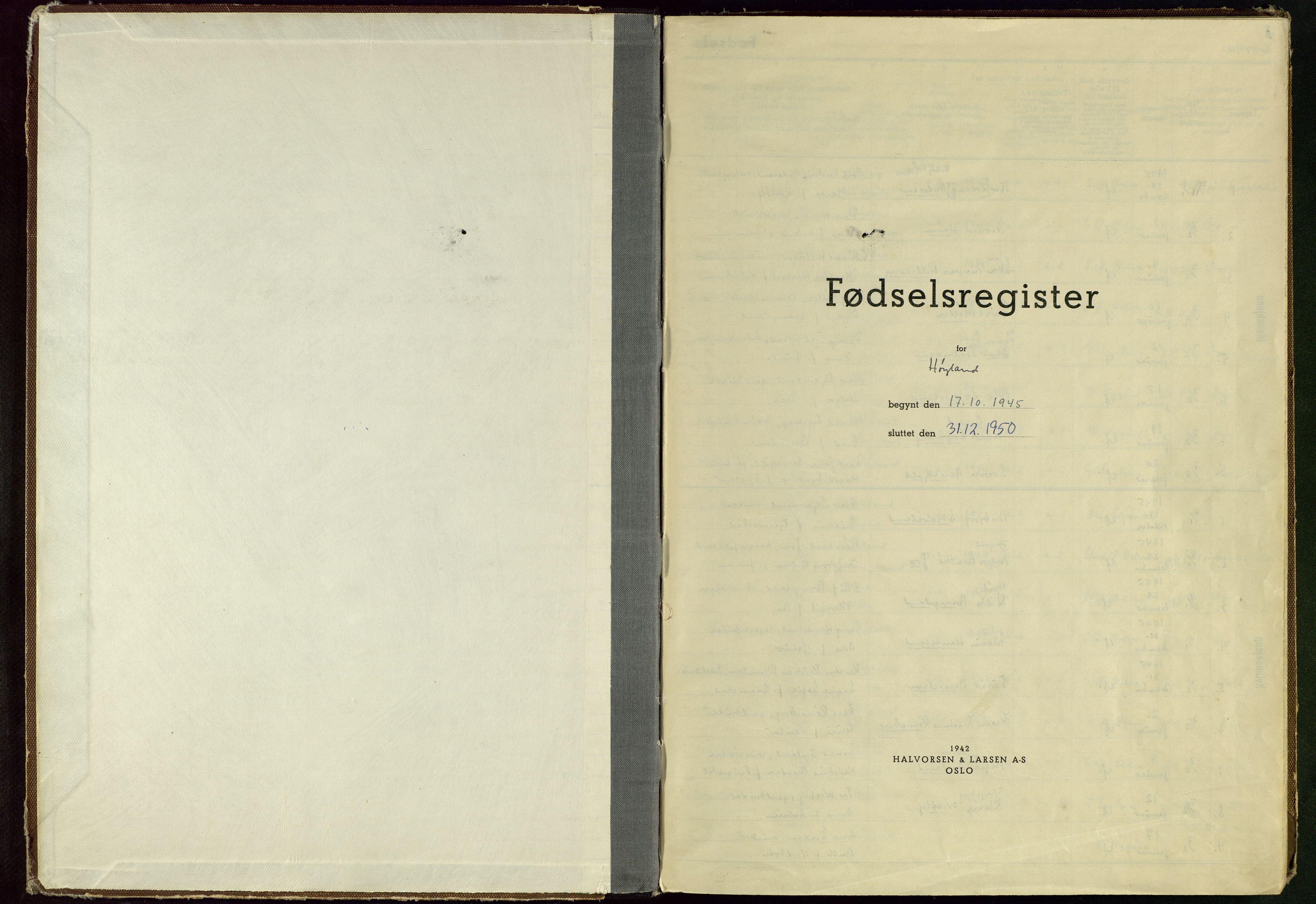 SAST, Høyland sokneprestkontor, O/L0005: Birth register no. 5, 1945-1950