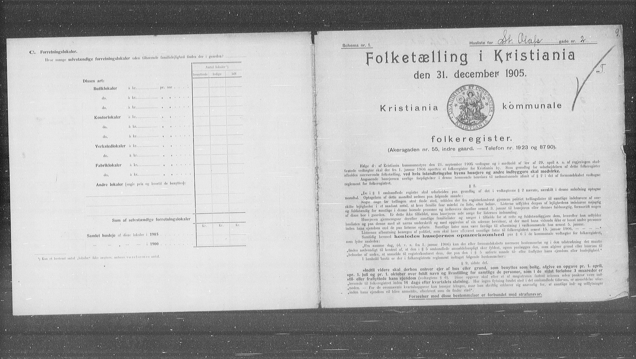 OBA, Municipal Census 1905 for Kristiania, 1905, p. 53216