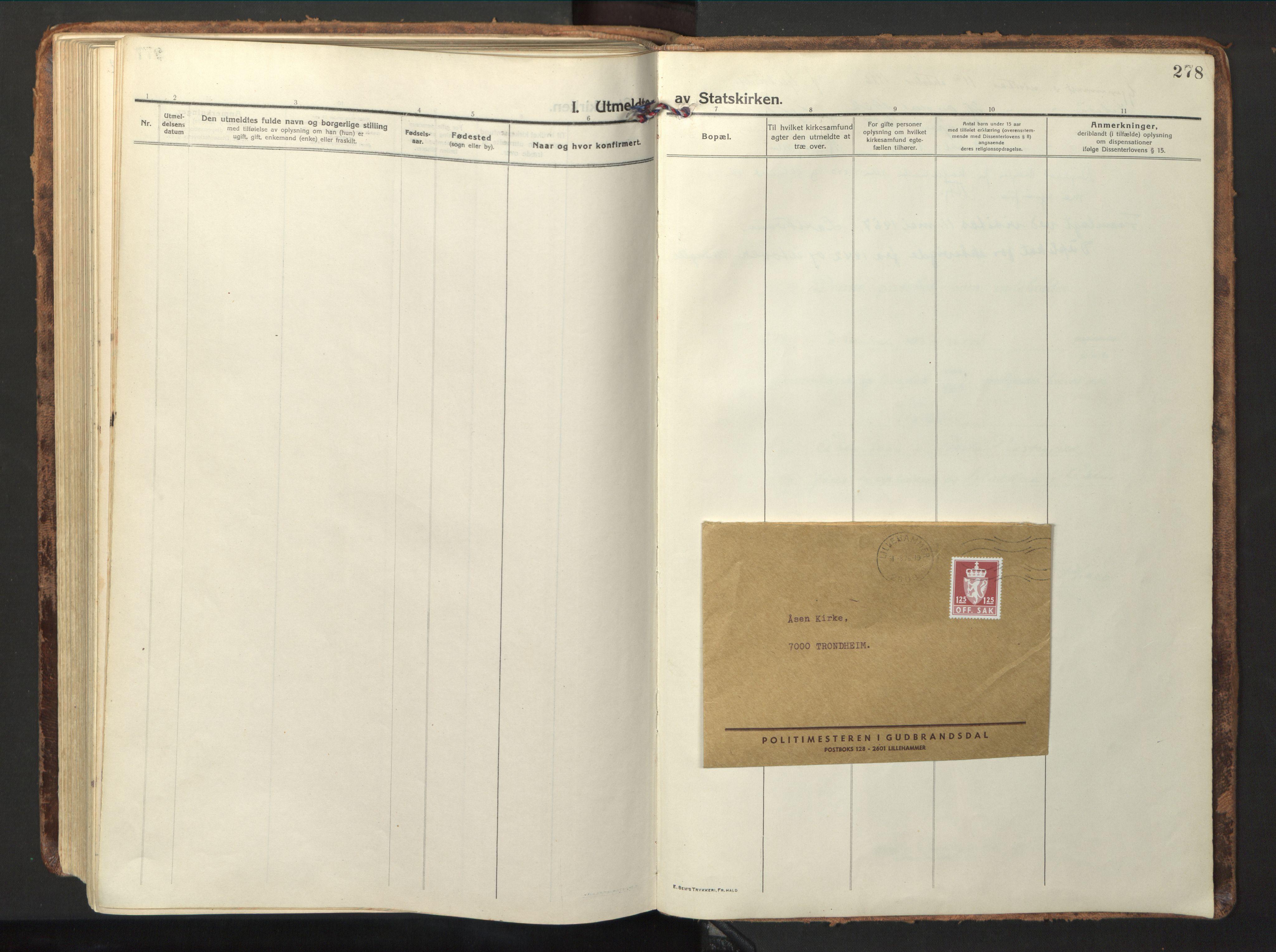 SAT, Ministerialprotokoller, klokkerbøker og fødselsregistre - Nord-Trøndelag, 714/L0136: Parish register (copy) no. 714C05, 1918-1957, p. 278