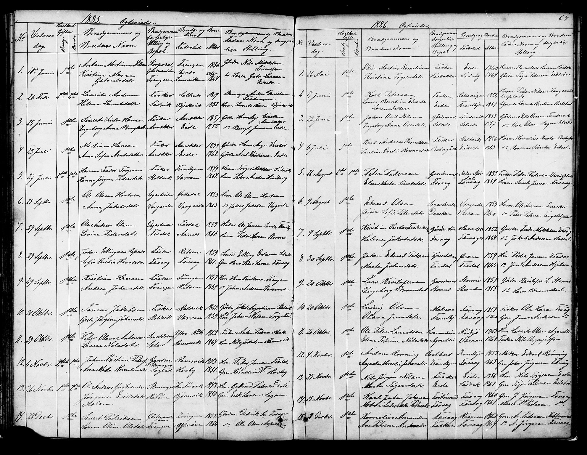 SAT, Ministerialprotokoller, klokkerbøker og fødselsregistre - Sør-Trøndelag, 653/L0657: Parish register (copy) no. 653C01, 1866-1893, p. 67